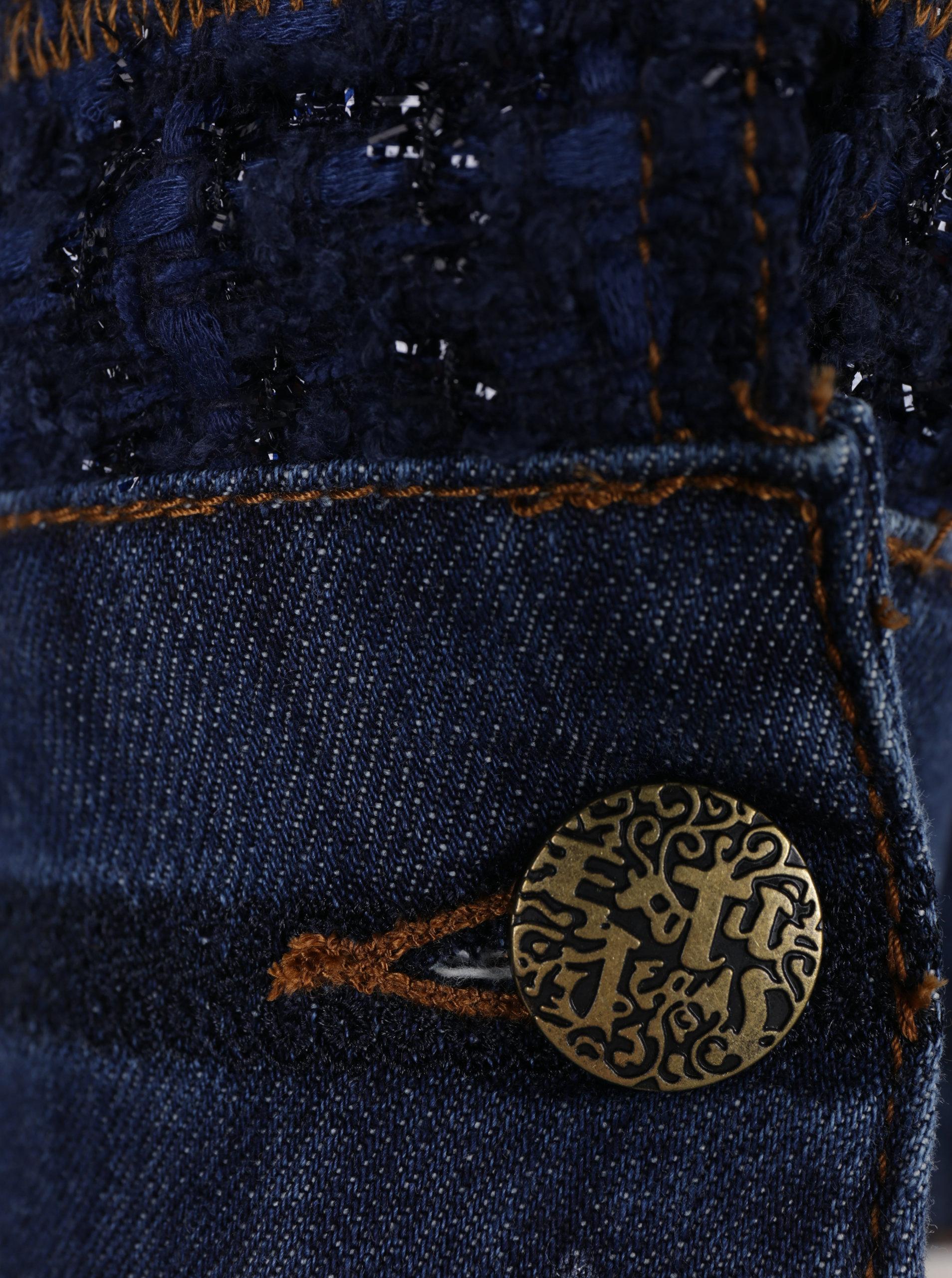 Modrá džínová bunda s detaily Desigual Exotic Tweed ... a7ad6a53313