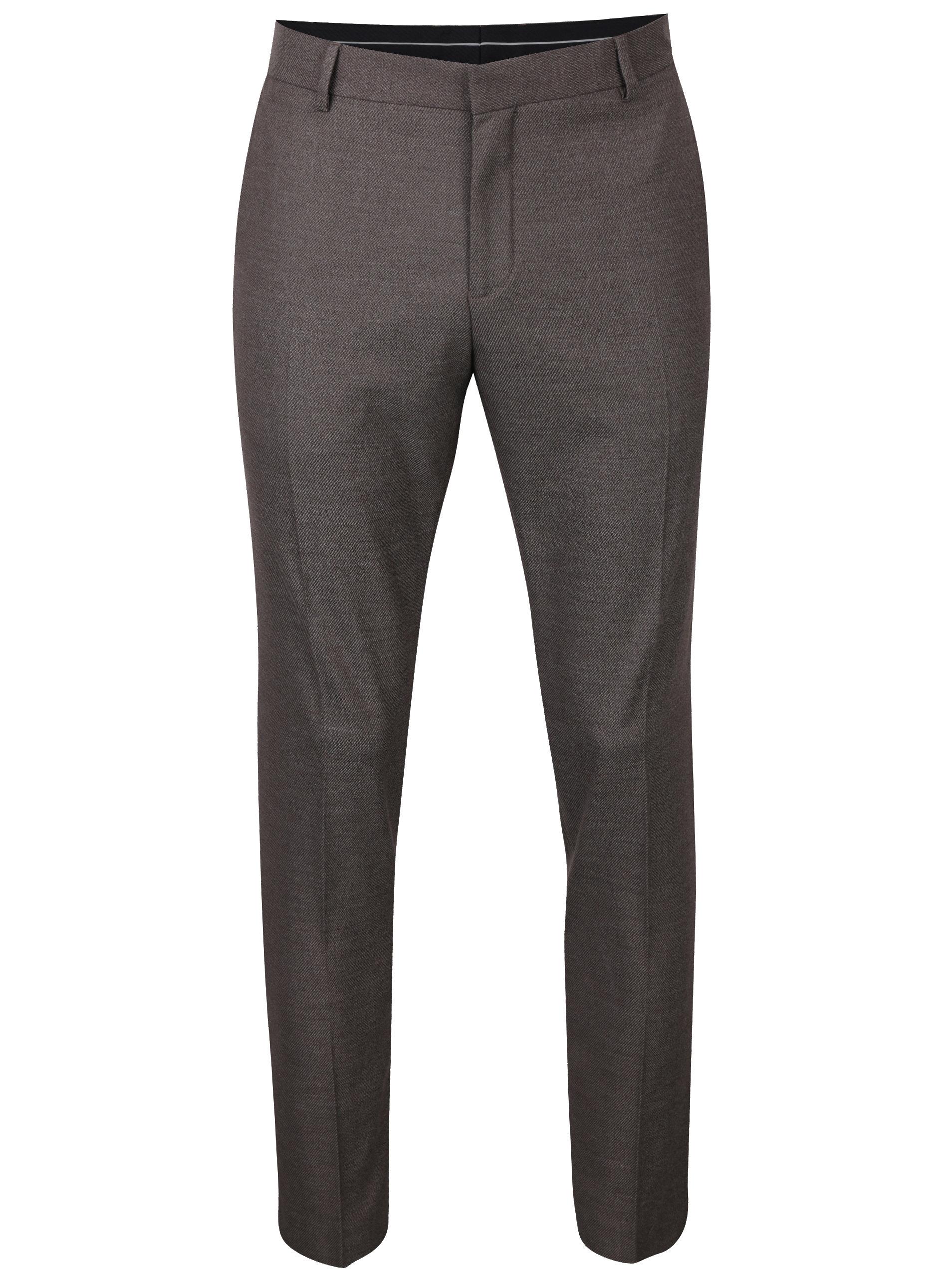 Hnědé žíhané oblekové kalhoty Selected Homme Done Buffalo
