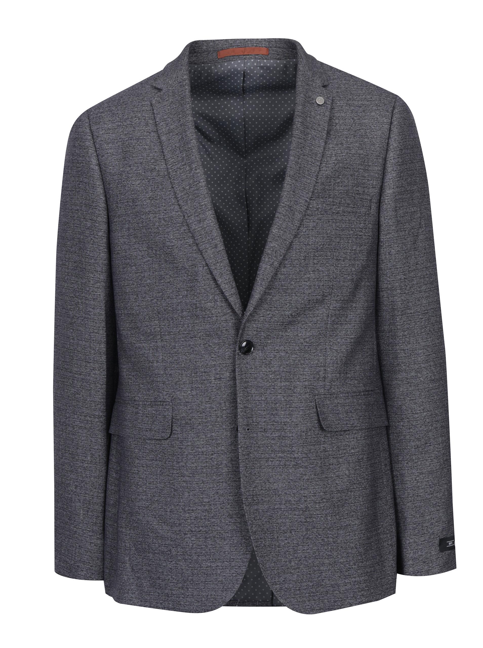 Šedé žíhané oblekové skinny sako Burton Menswear London