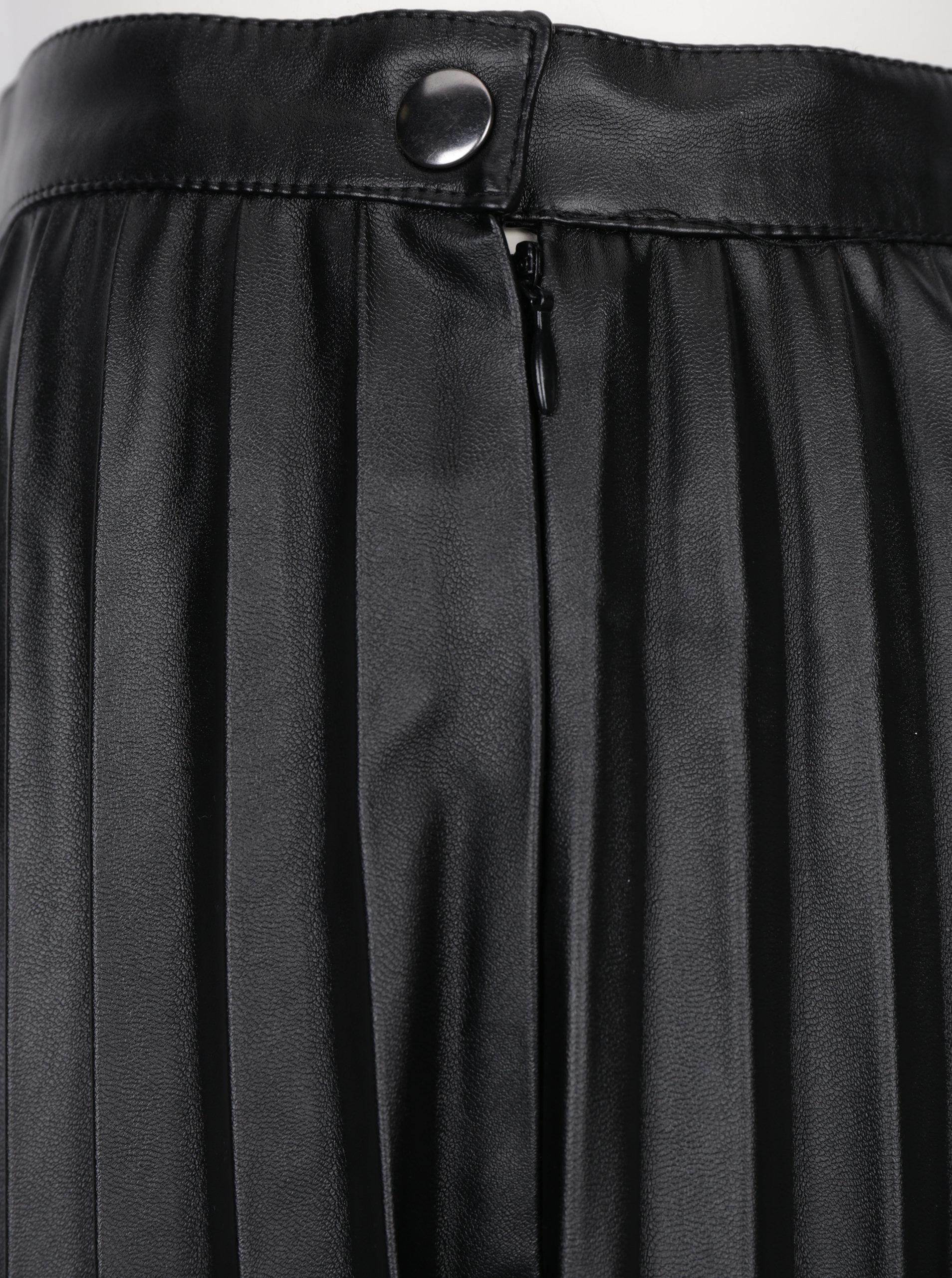4c6f141bbd5e Čierna koženková plisovaná sukňa Noisy May Leanne ...