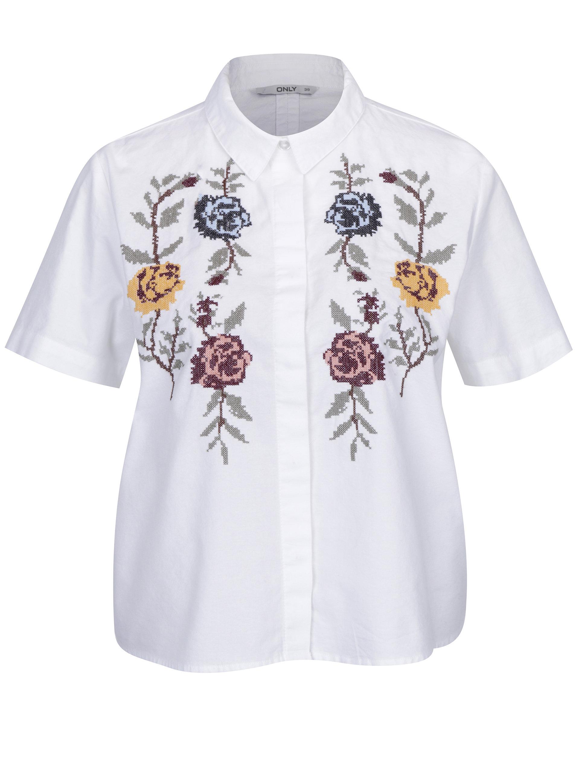 Bílá krátká košile s výšivkou květin ONLY Gala ... f30e16dfa0
