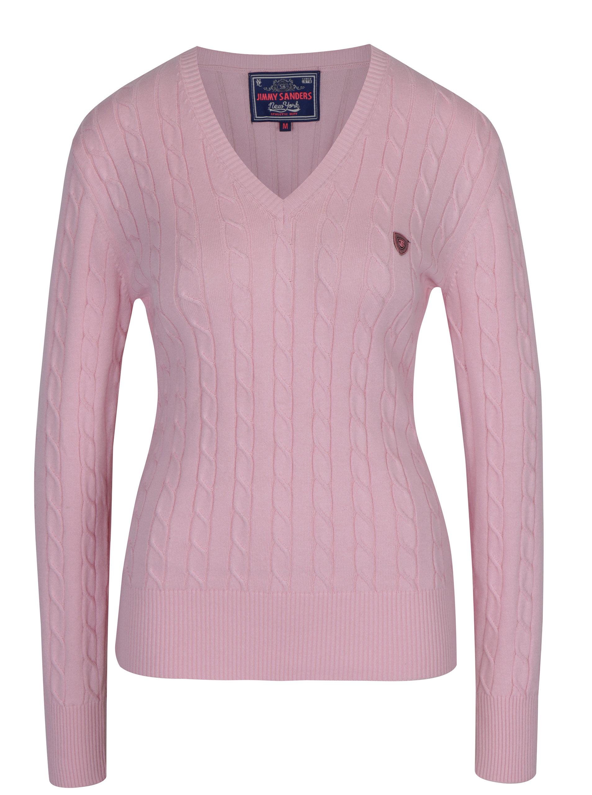 Světle růžový dámský svetr s véčkovým výstřihem Jimmy Sanders ... 65d26d65eb