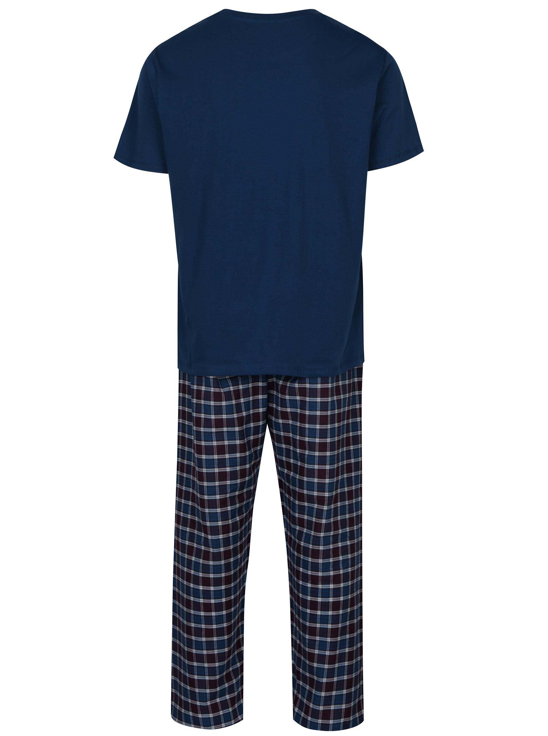 2896fcf6e8 Petrolejové pánské kostkované pyžamo s krátkým rukávem M Co ...