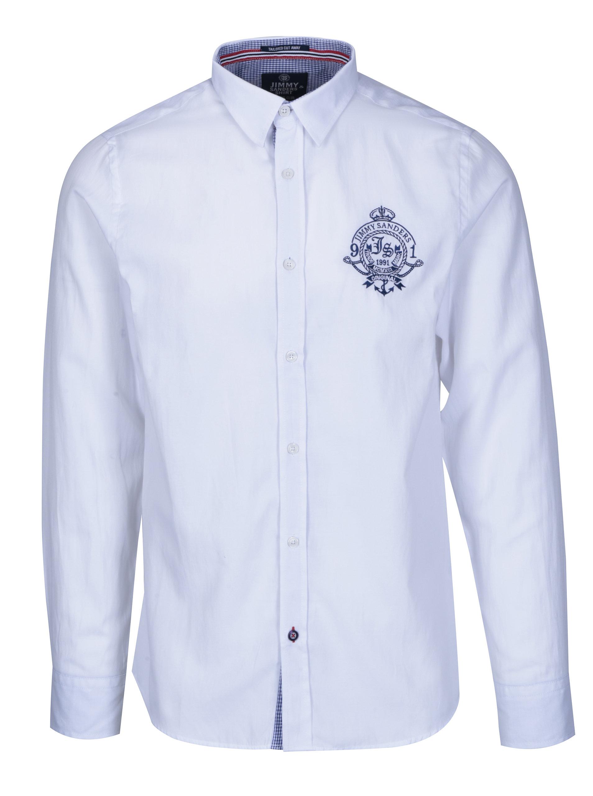 3392c10ff755 Biela pánska košeľa s výšivkou Jimmy Sanders ...