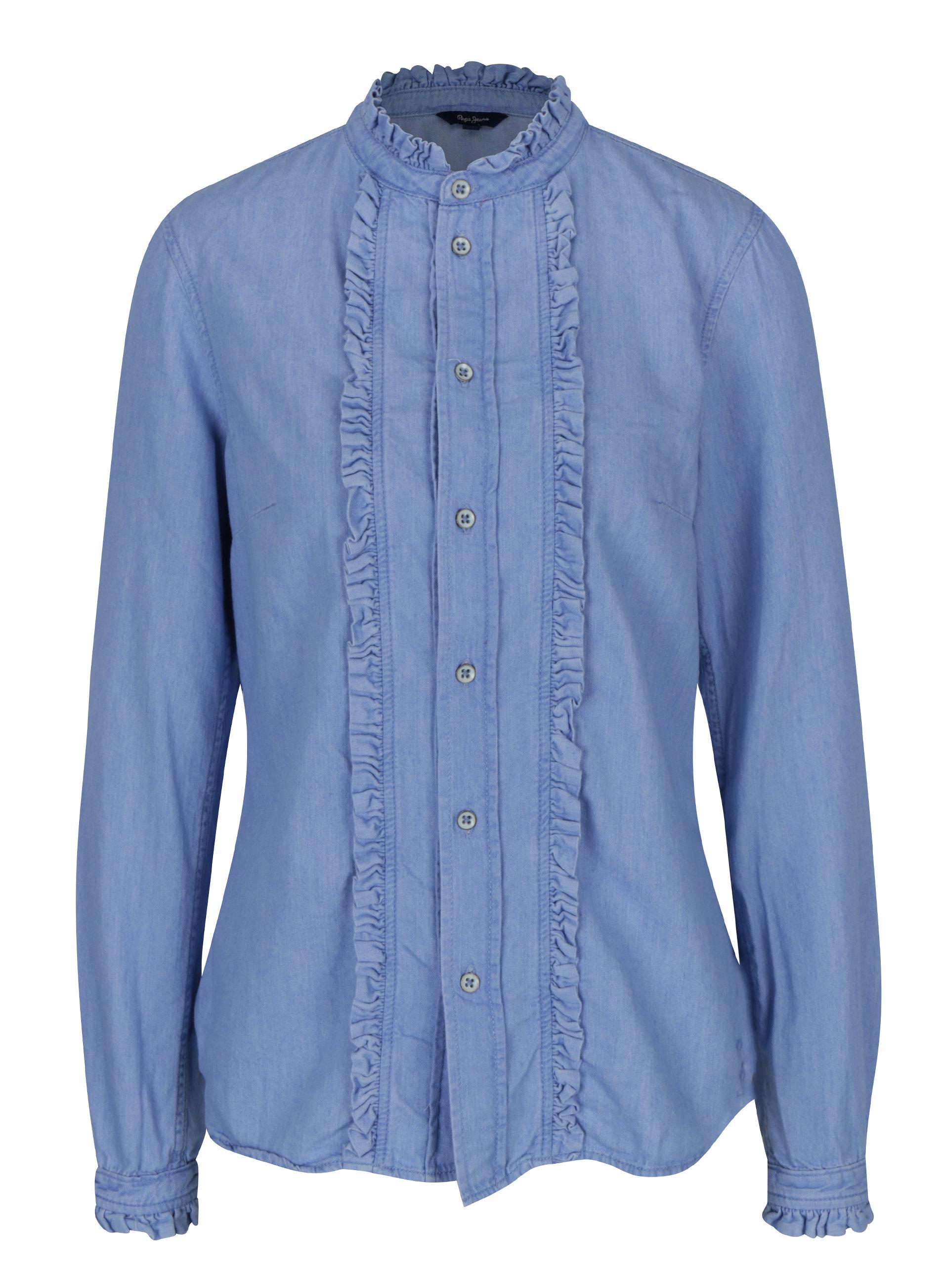 Světle modrá dámská džínová košile Pepe Jeans Frilly ... 4b93ae520d