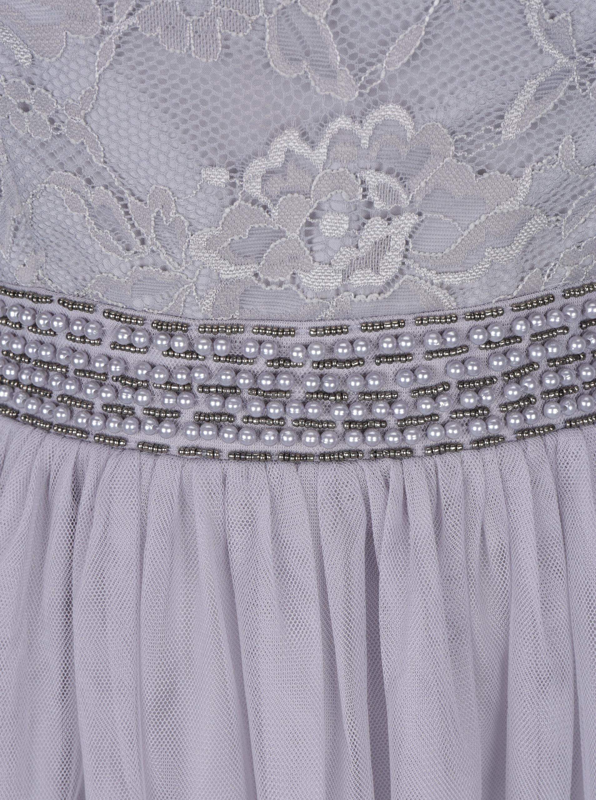 636ba7fe92b9 Šedé šaty s odhalenými rameny a krajkovým topem Little Mistress ...