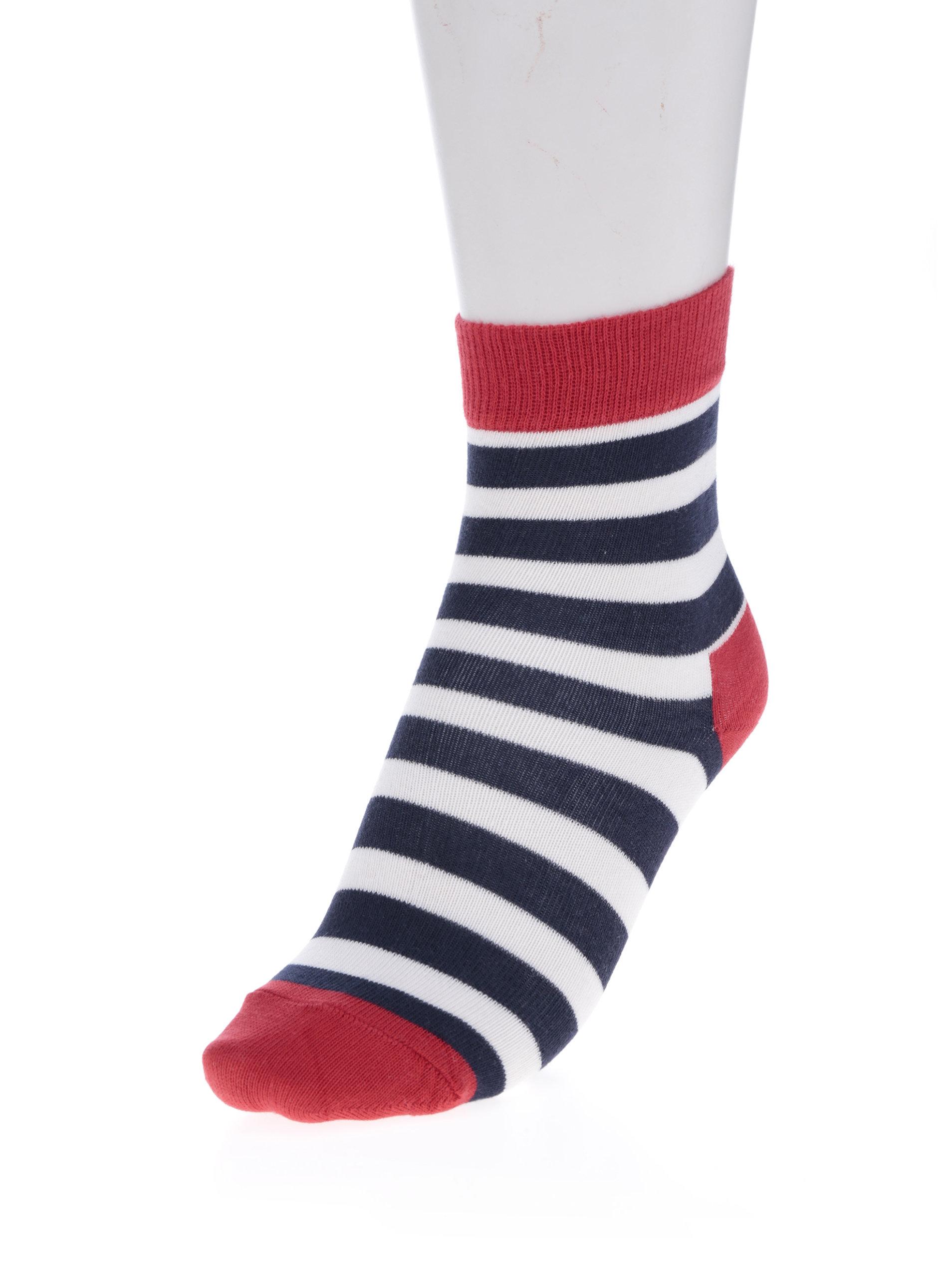 Modro-červené dětské pruhované ponožky Happy Socks Stripe - Akční ... bfed0ba577