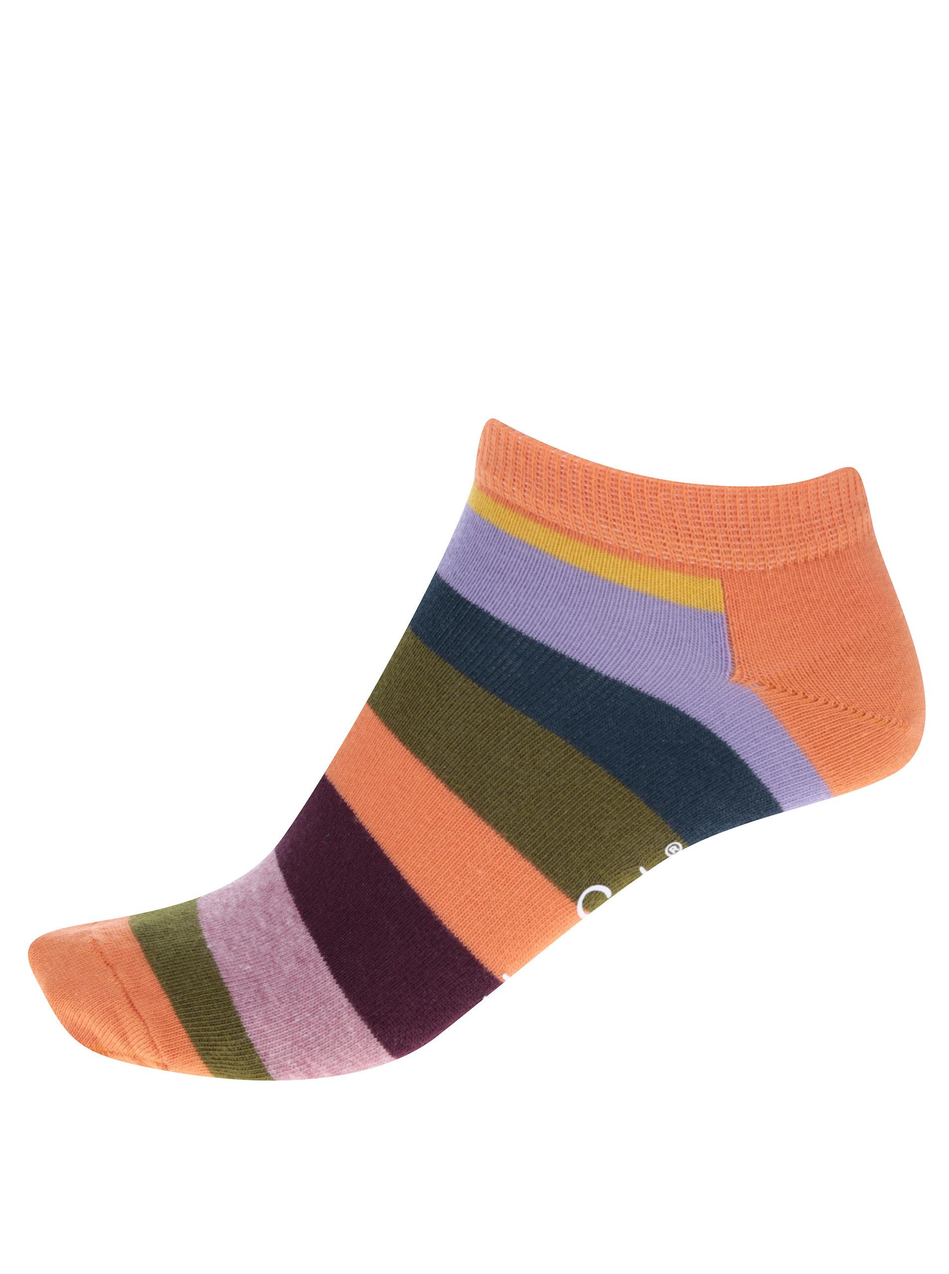 Oranžové dámské pruhované kotníkové ponožky Happy Socks Stripe ... ddc470c62b