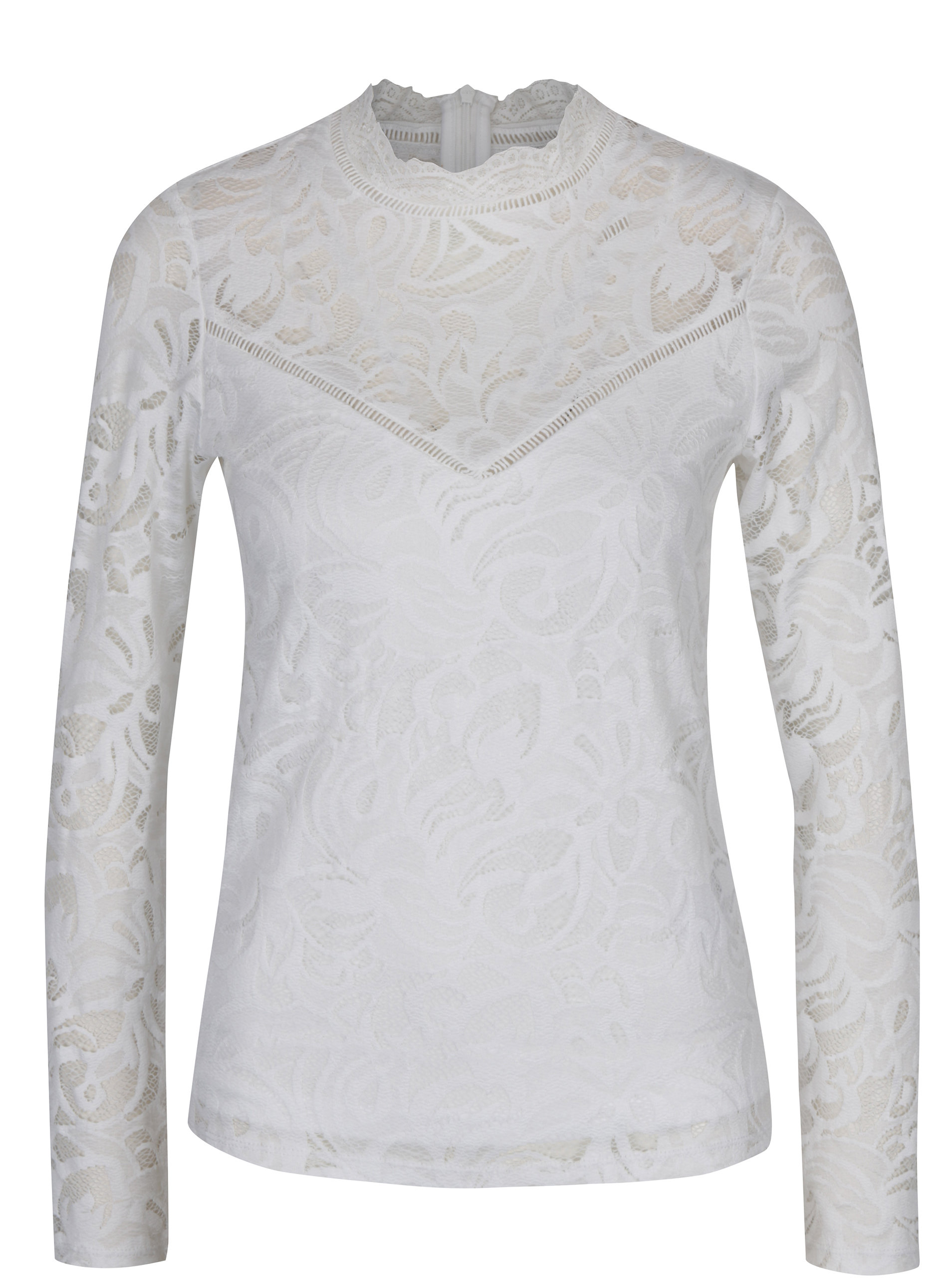 Bílá krajková halenka s dlouhým rukávem VILA Stasia ... 003546e229