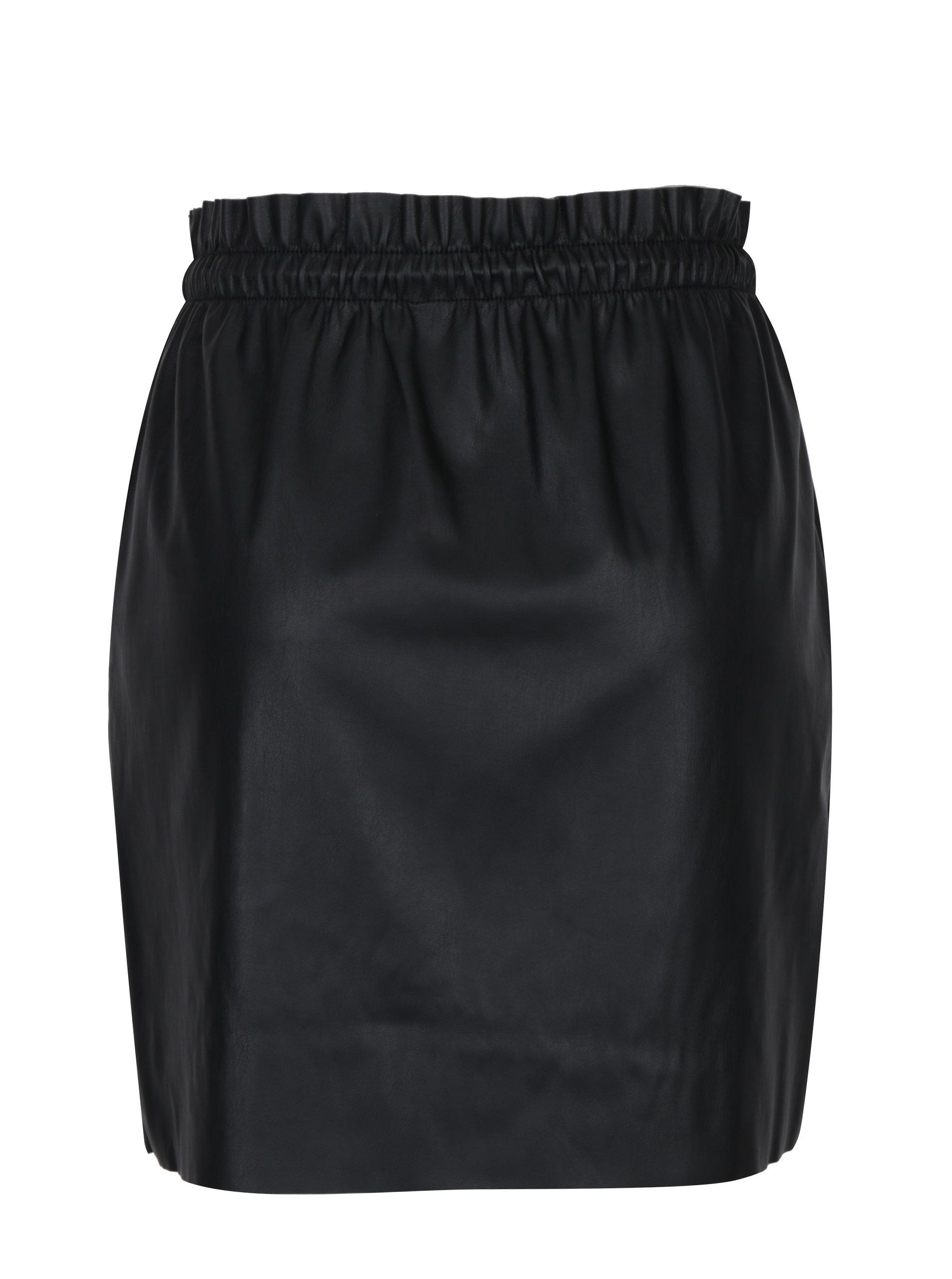 b5db26dcce92 Černá koženková sukně s pružným pasem VERO MODA Riley ...