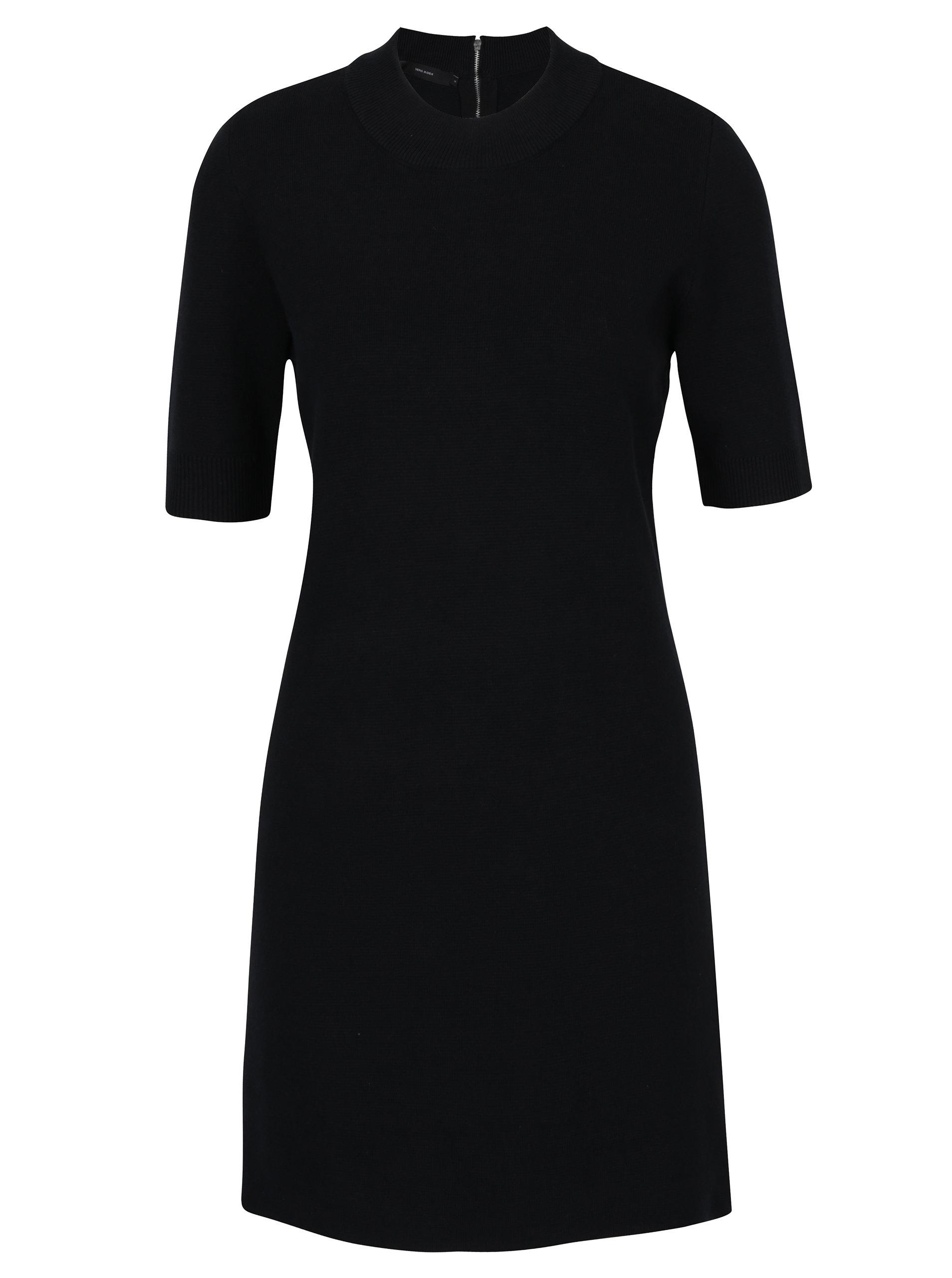 893c16fd23f Černé svetrové šaty s krátkým rukávem VERO MODA Barstow ...