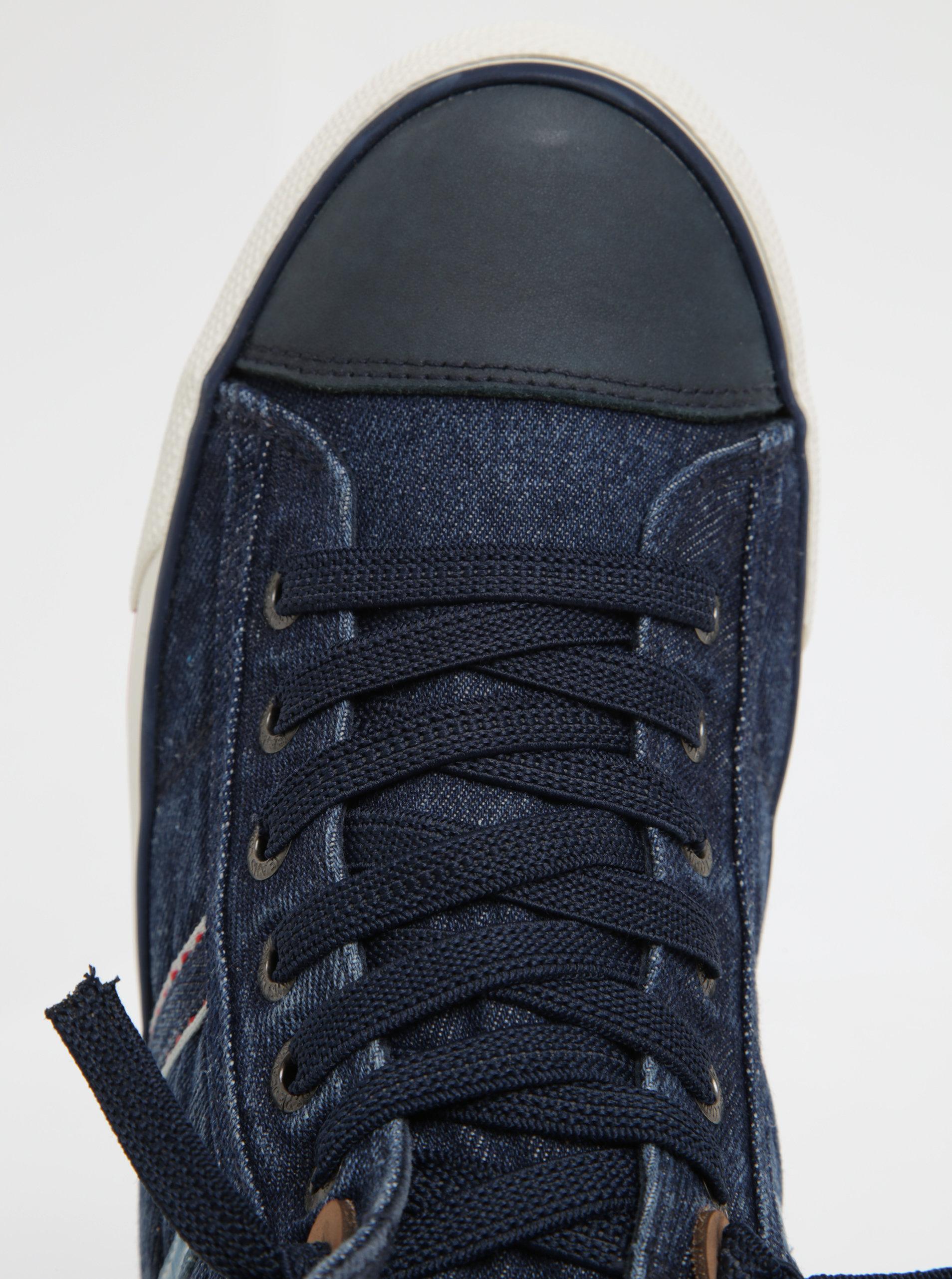 ff2a1526dbf Modré pánské džínové kotníkové tenisky Pepe Jeans Serthi ...