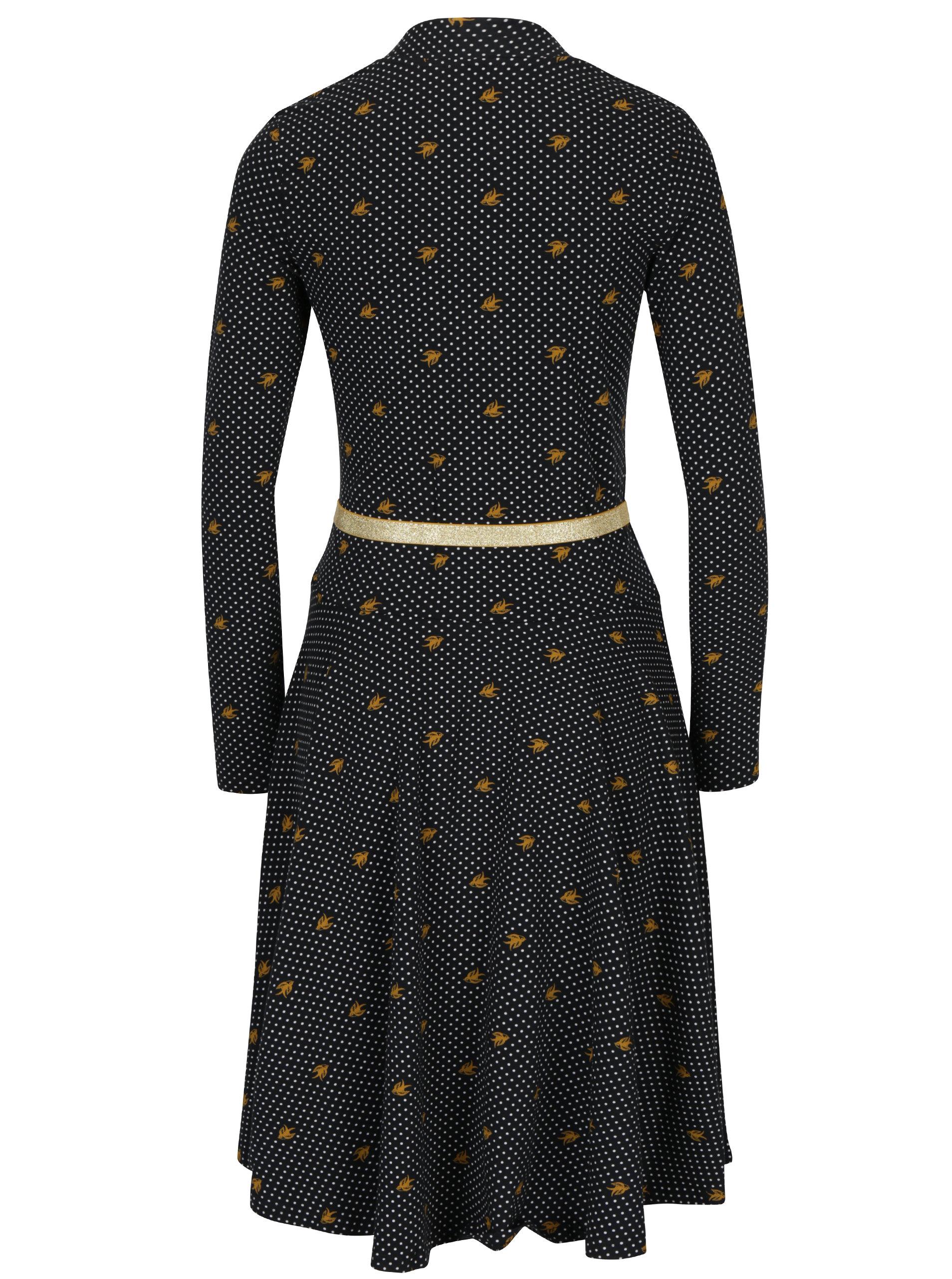 6d2639c2e209 Černé vzorované šaty s dlouhým rukávem Blutsgeschwister ...