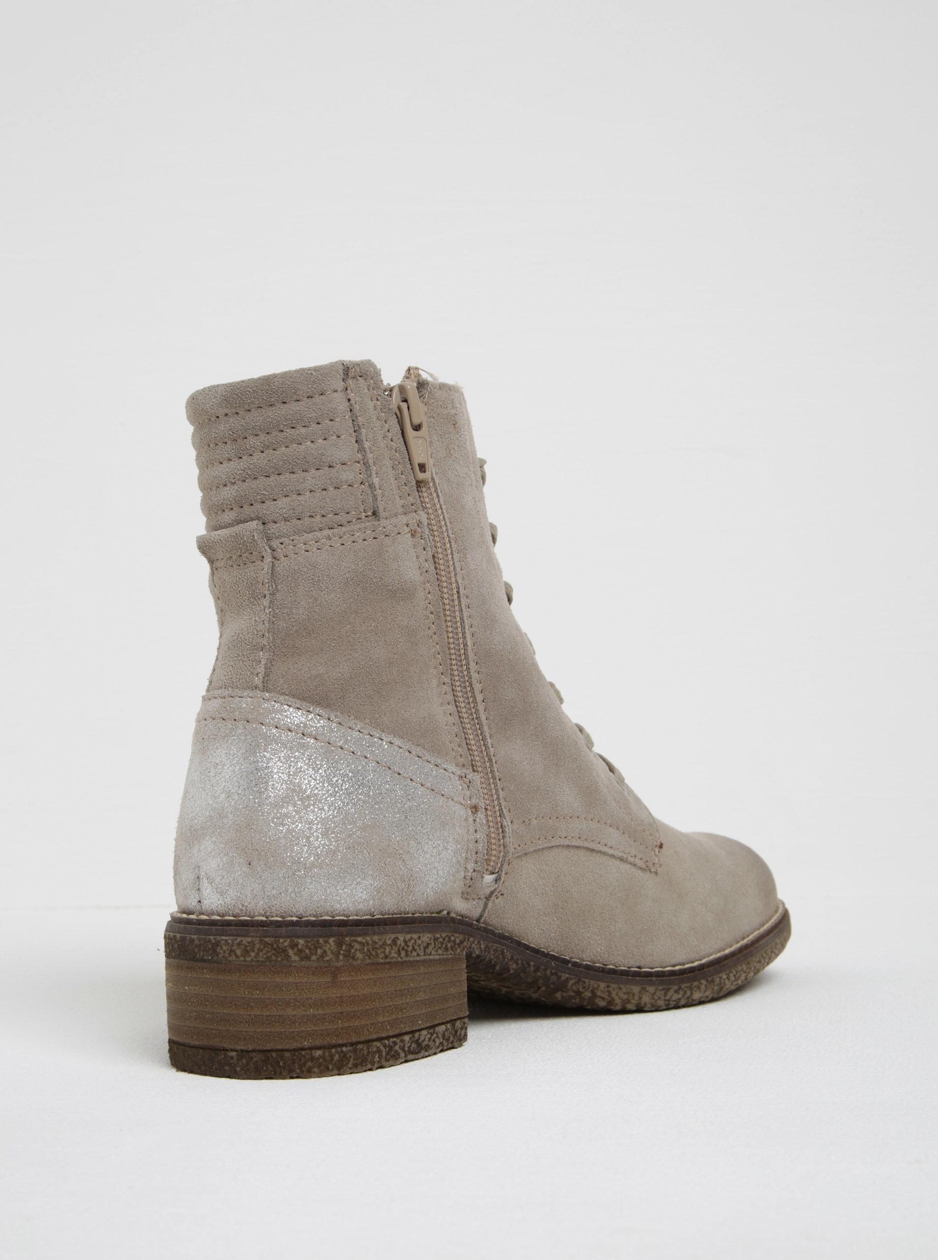 d367933eed2f Béžové semišové kotníkové boty s třpytivou patou Tamaris ...