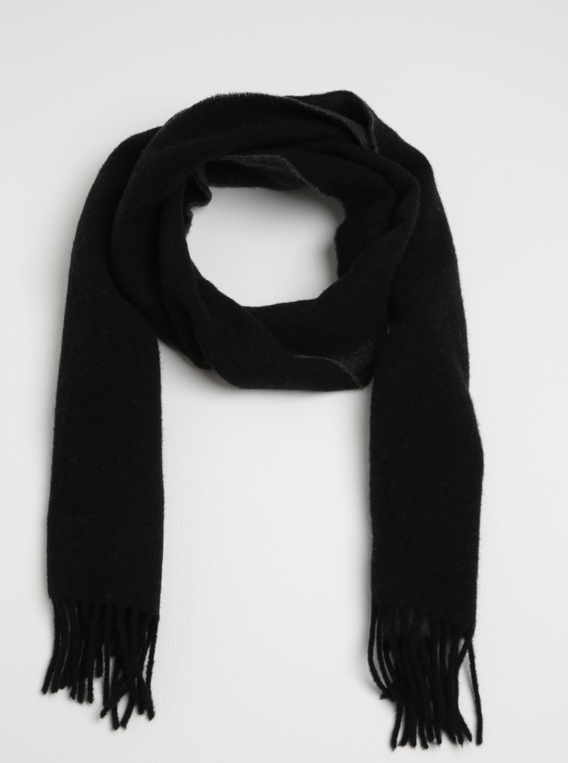 Šedo-černá dámská vlněná šála s třásněmi GANT ... 5e883294b1