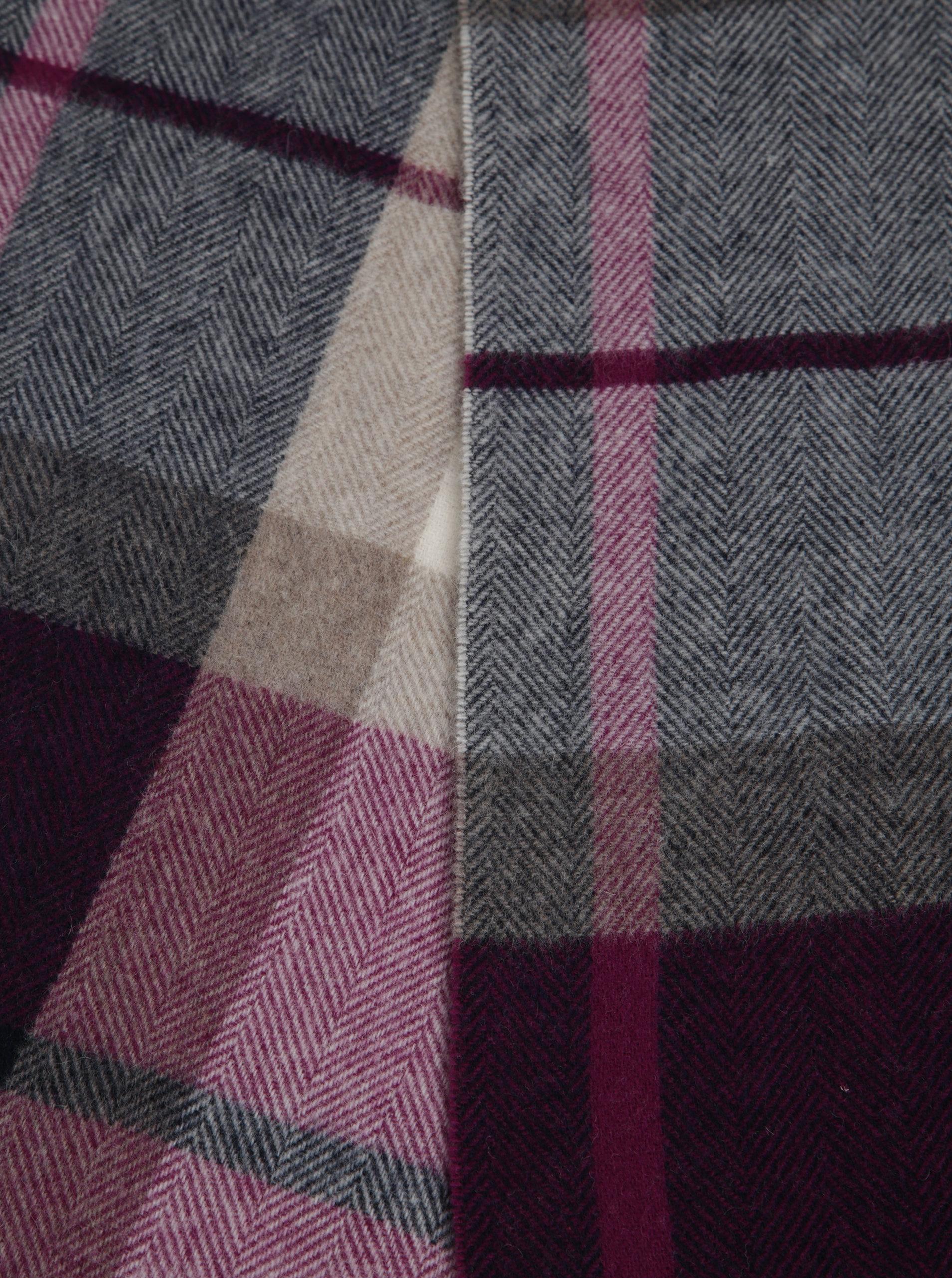 Krémovo-fialový dámsky kockovaný šál s prímesou vlny GANT ... 73958e4918