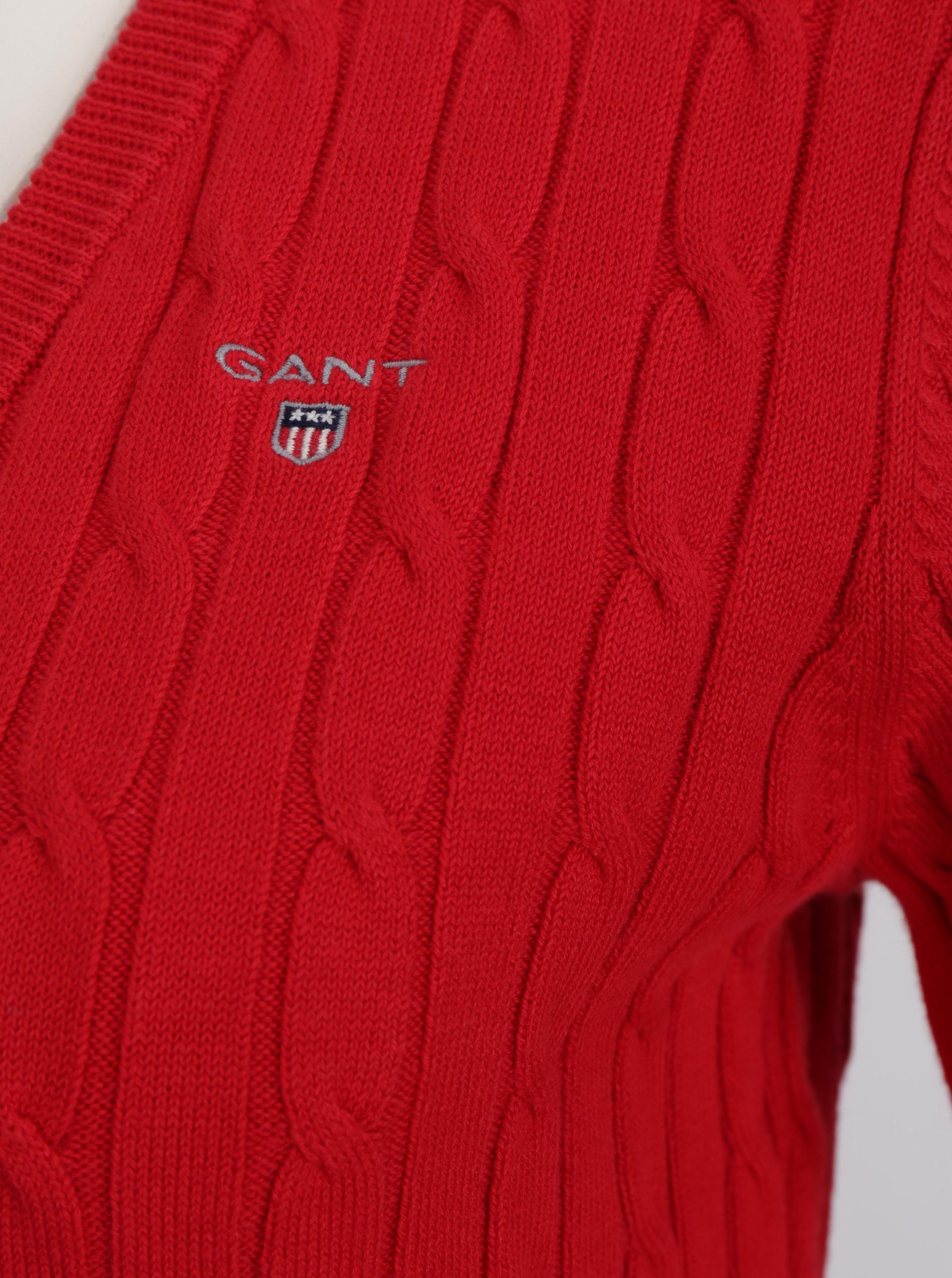 3856ea94d277 Červený dámsky sveter s véčkovým výstrihom GANT ...