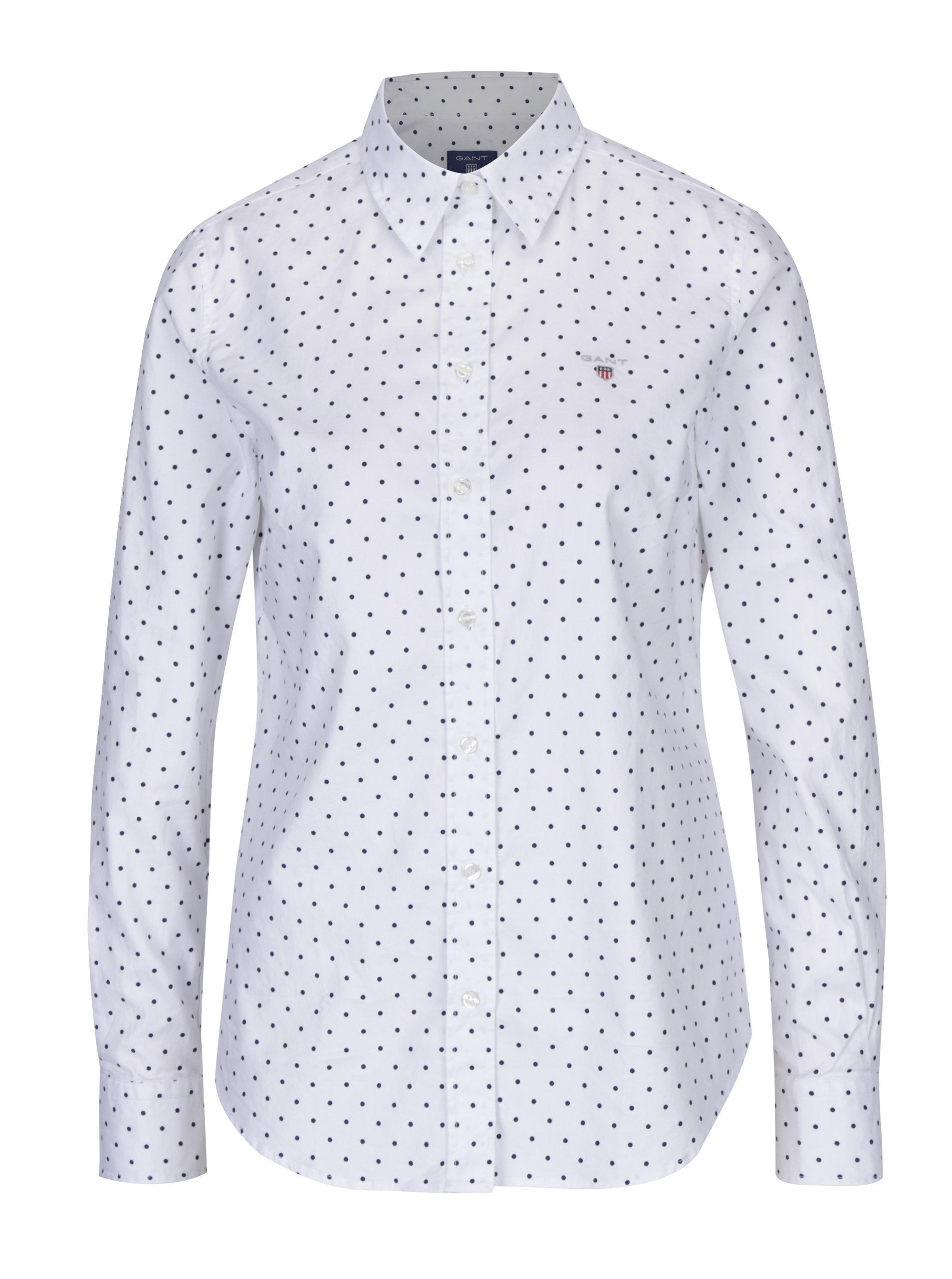 9ec1808c27f4 Biela dámska bodkovaná košeľa GANT ...