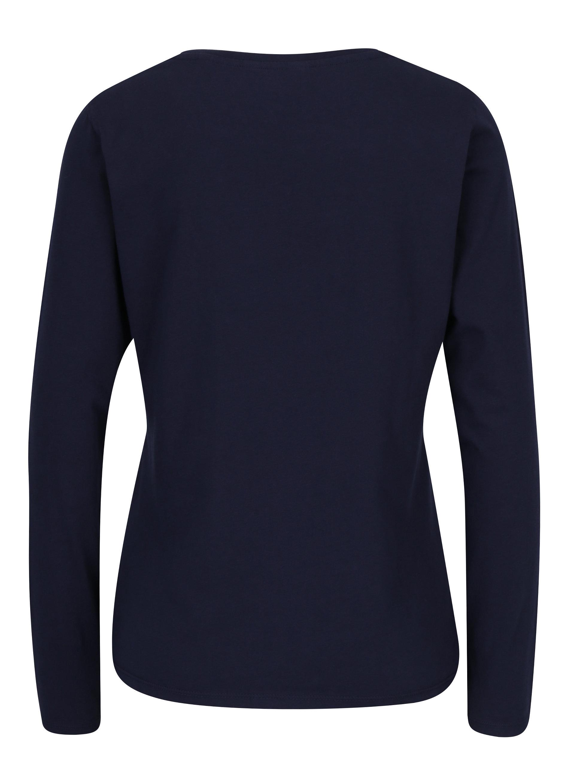 Tmavě modré dámské tričko s dlouhým rukávem a potiskem GANT ... 7f3441aba1