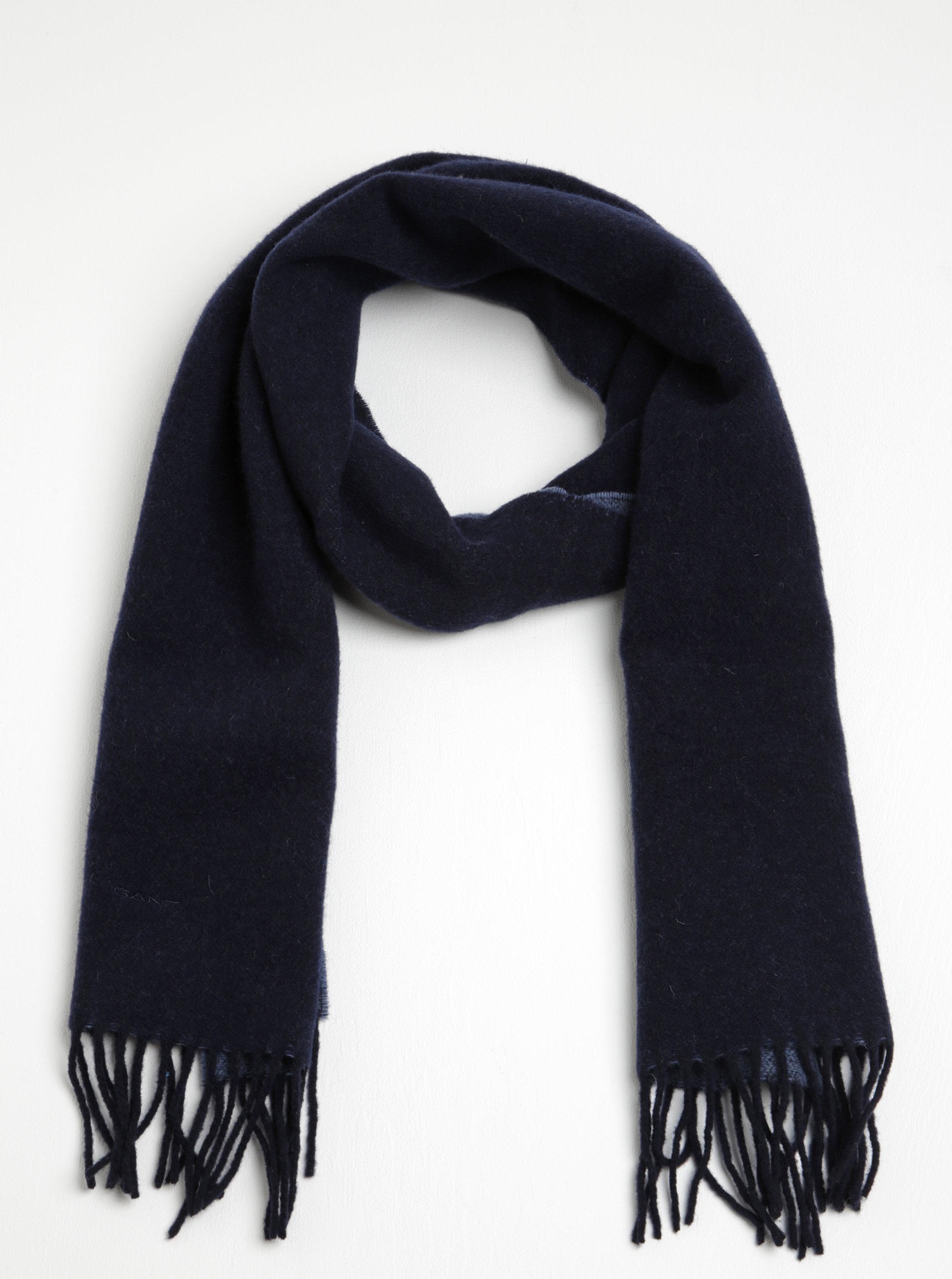 Tmavě modrá dámská vlněná šála s třásněmi GANT ... 0593df078c