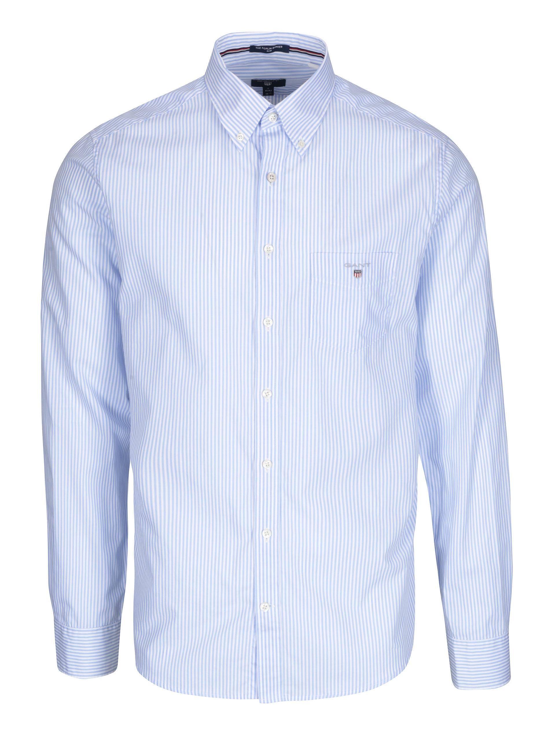 9e237c3787f2 Bielo-modrá pánska pruhovaná formálna slim košeľa GANT ...