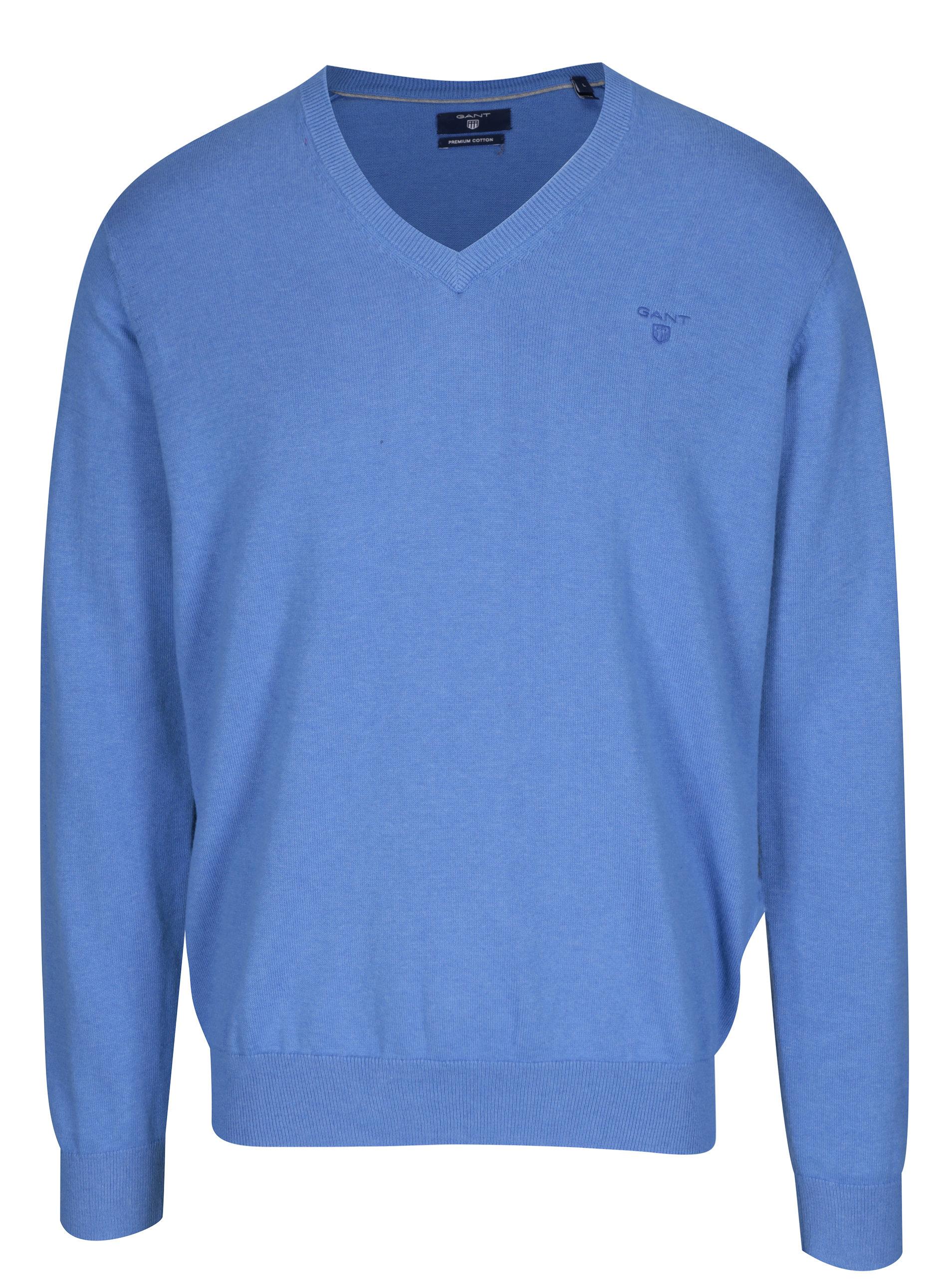 d0550fd8798b Modrý pánsky sveter s véčkovým výstrihom GANT ...
