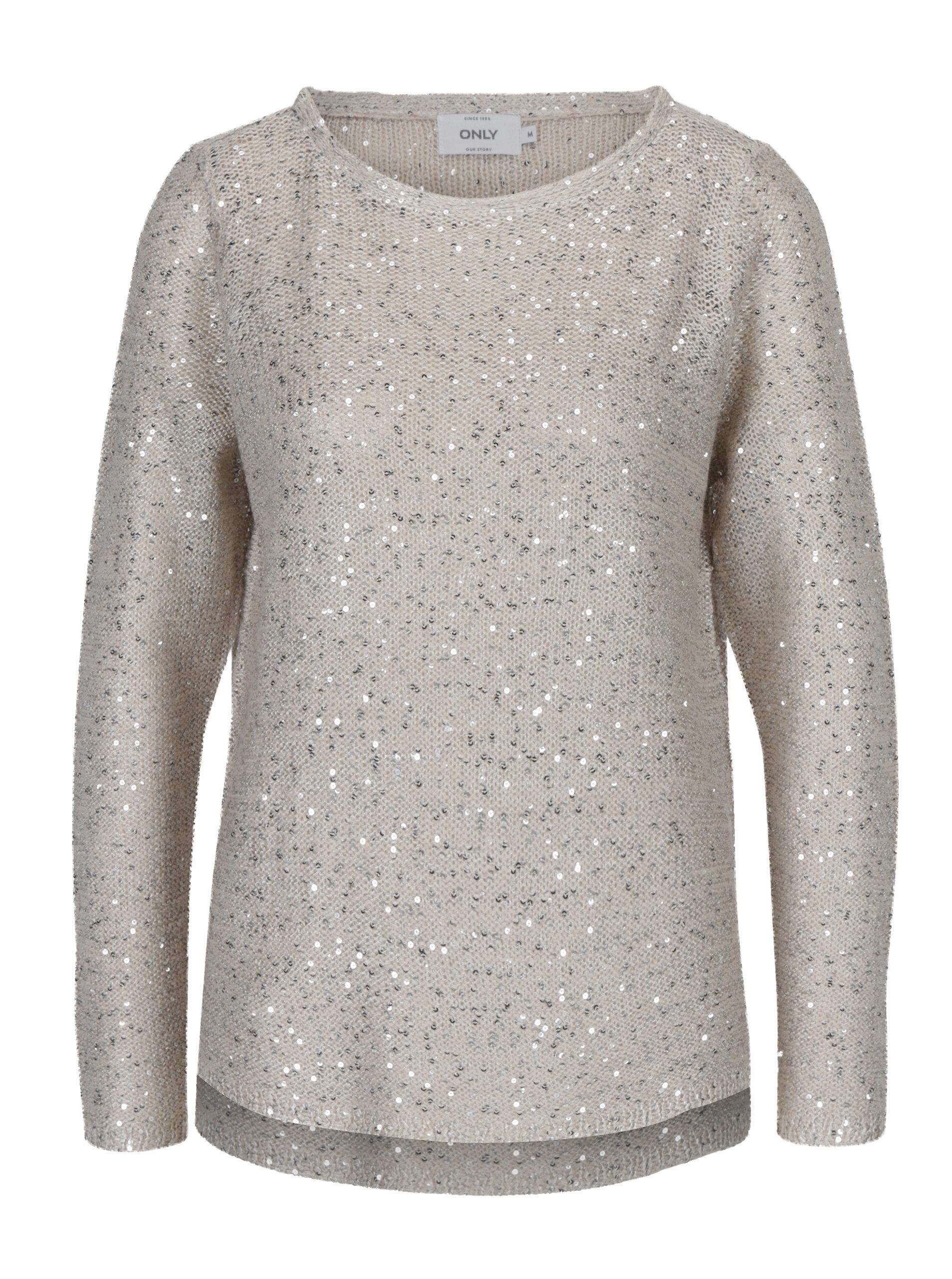 dd2d7537fd5 Béžový pletený svetr s flitry ONLY Adele ...