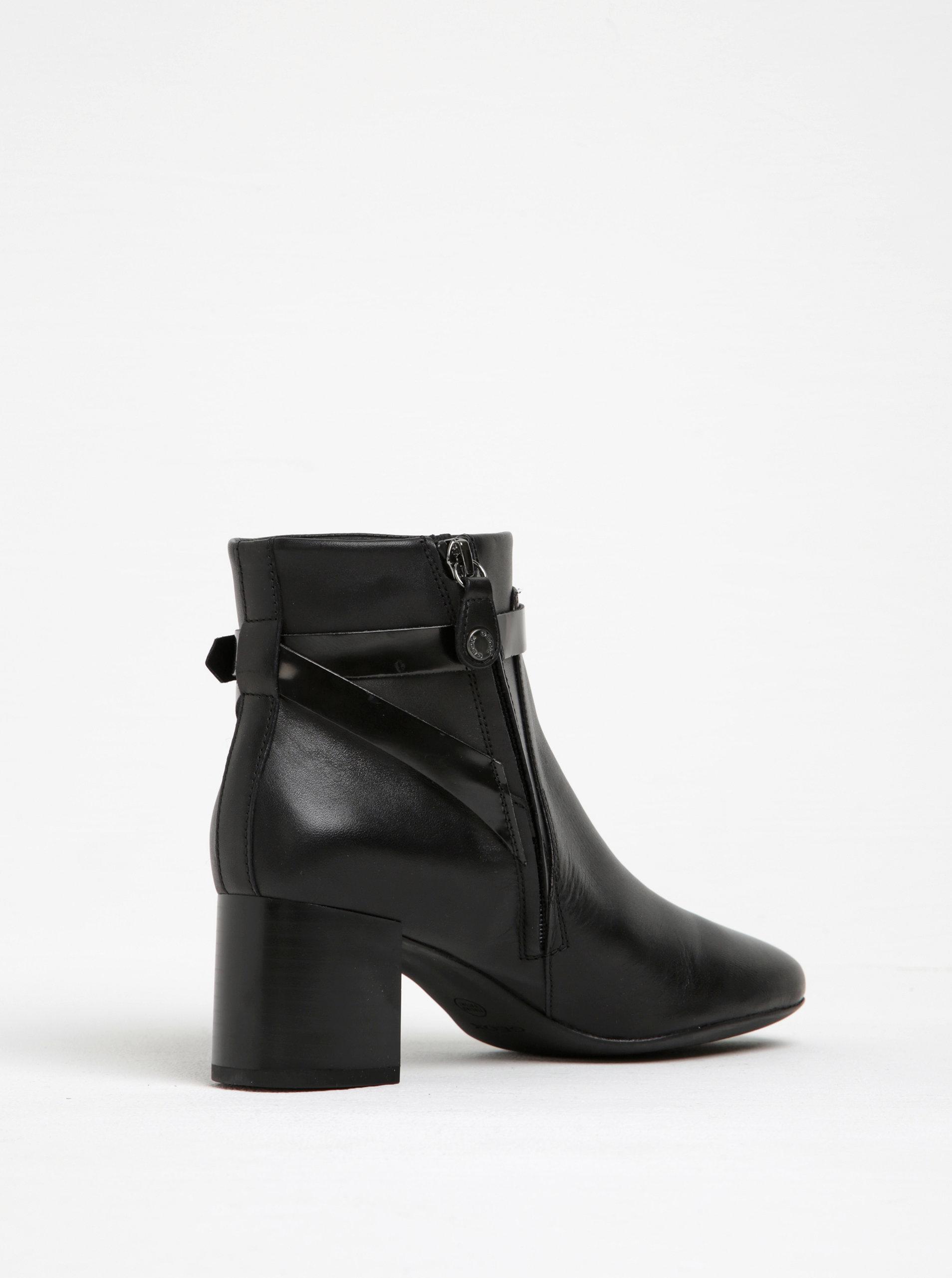 Černé dámské kožené kotníkové boty na podpatku Geox Audalies ... 82886688ef7