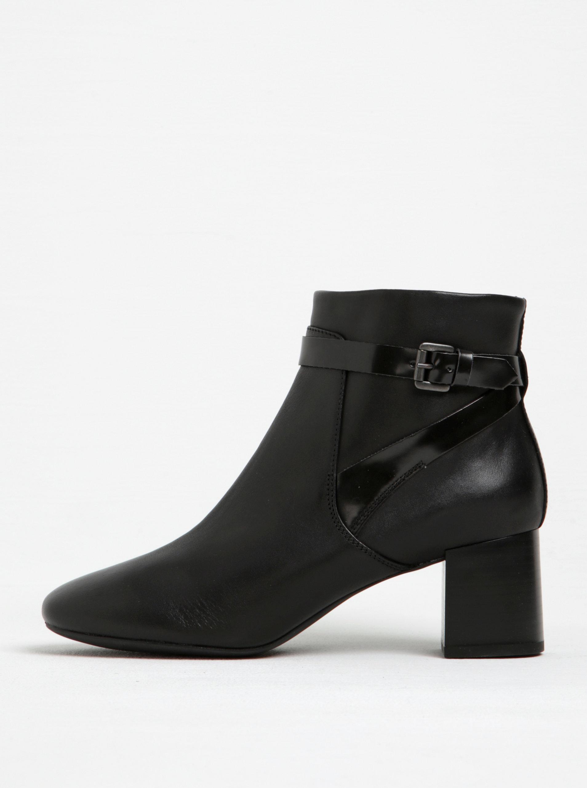 Čierne dámske kožené členkové topánky na podpätku Geox Audalies ... a2a3f84943a