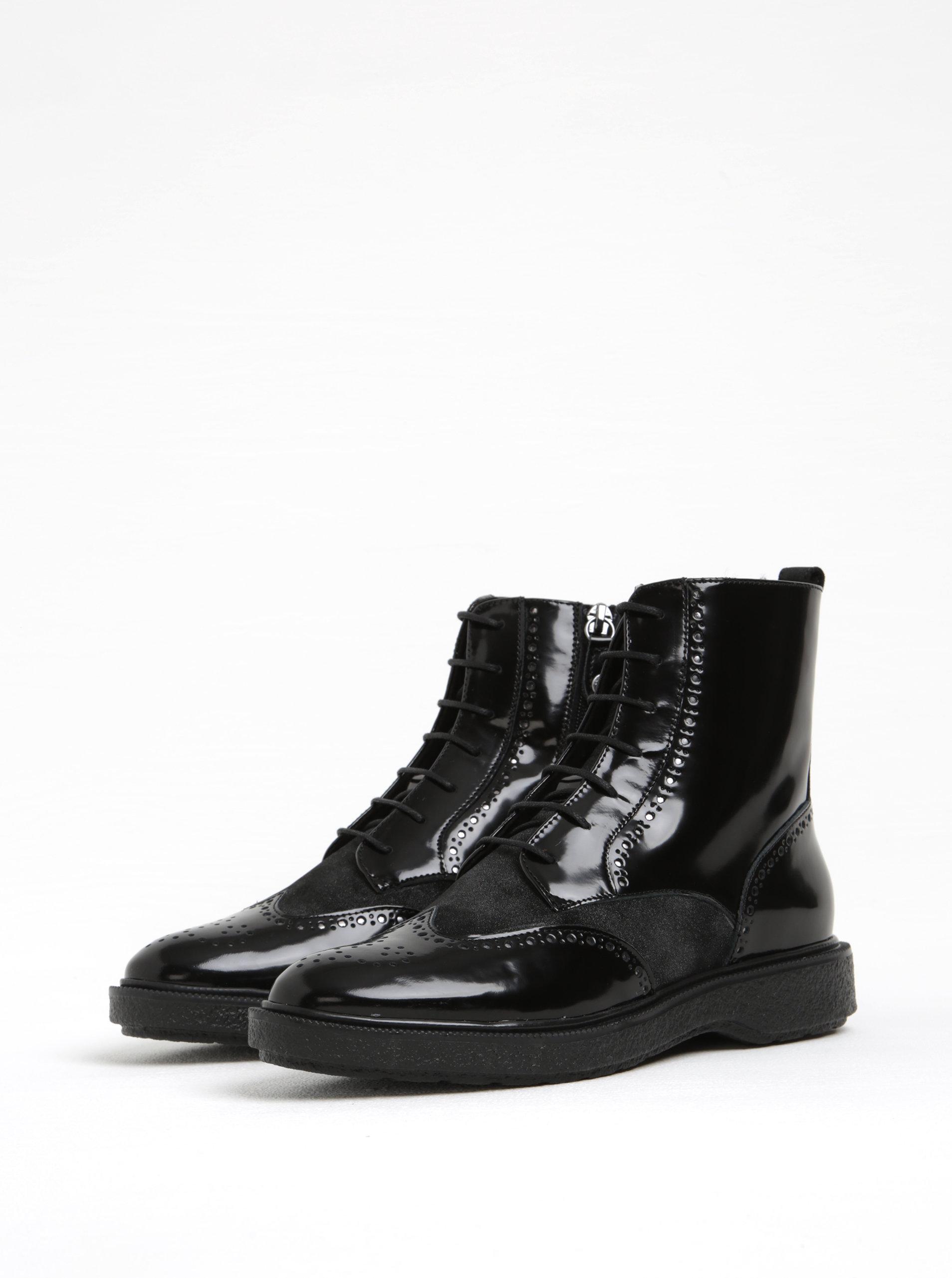 Černé dámské lesklé kotníkové kožené boty Geox Prestyn A ... bef6d8b713