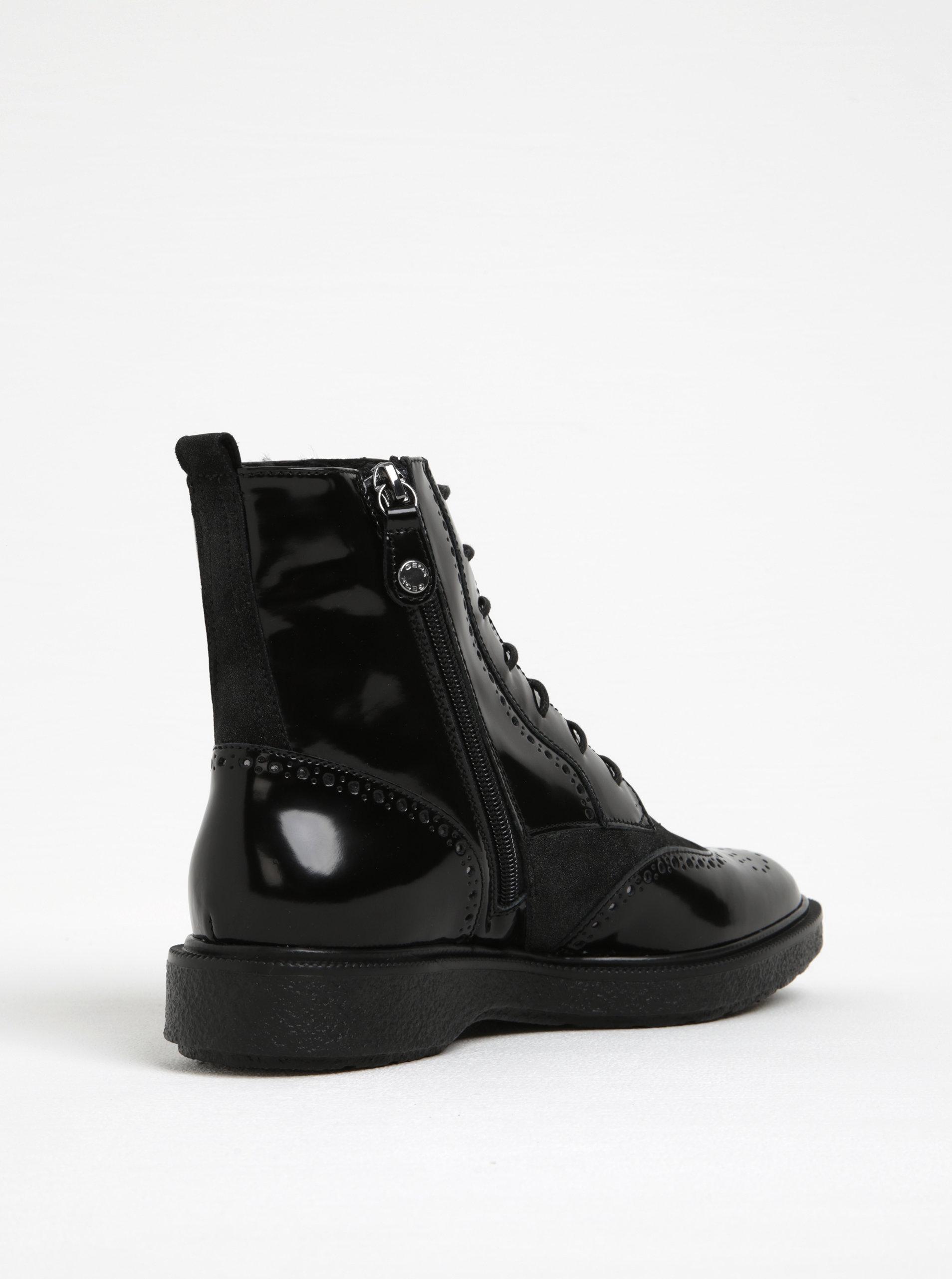 4e7d8043b30c Čierne dámske lesklé členkové kožené topánky Geox Prestyn A ...