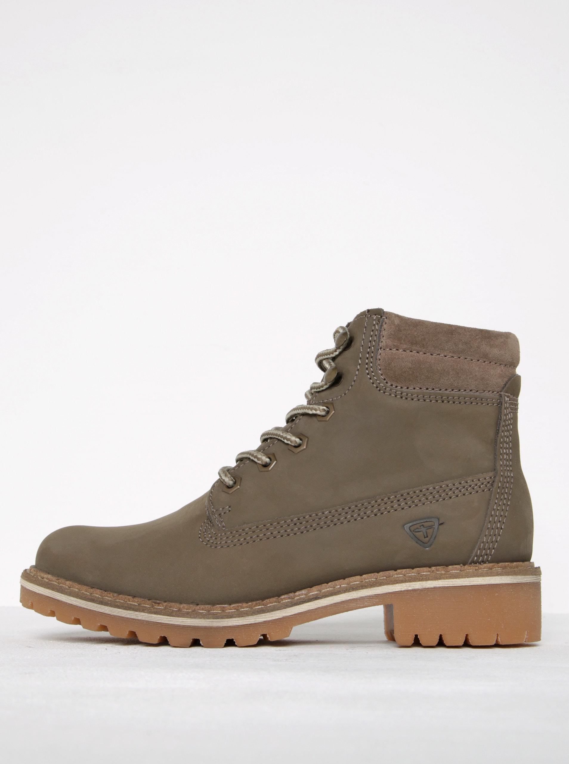 Béžové kožené členkové topánky Tamaris ... 489fa380cfc