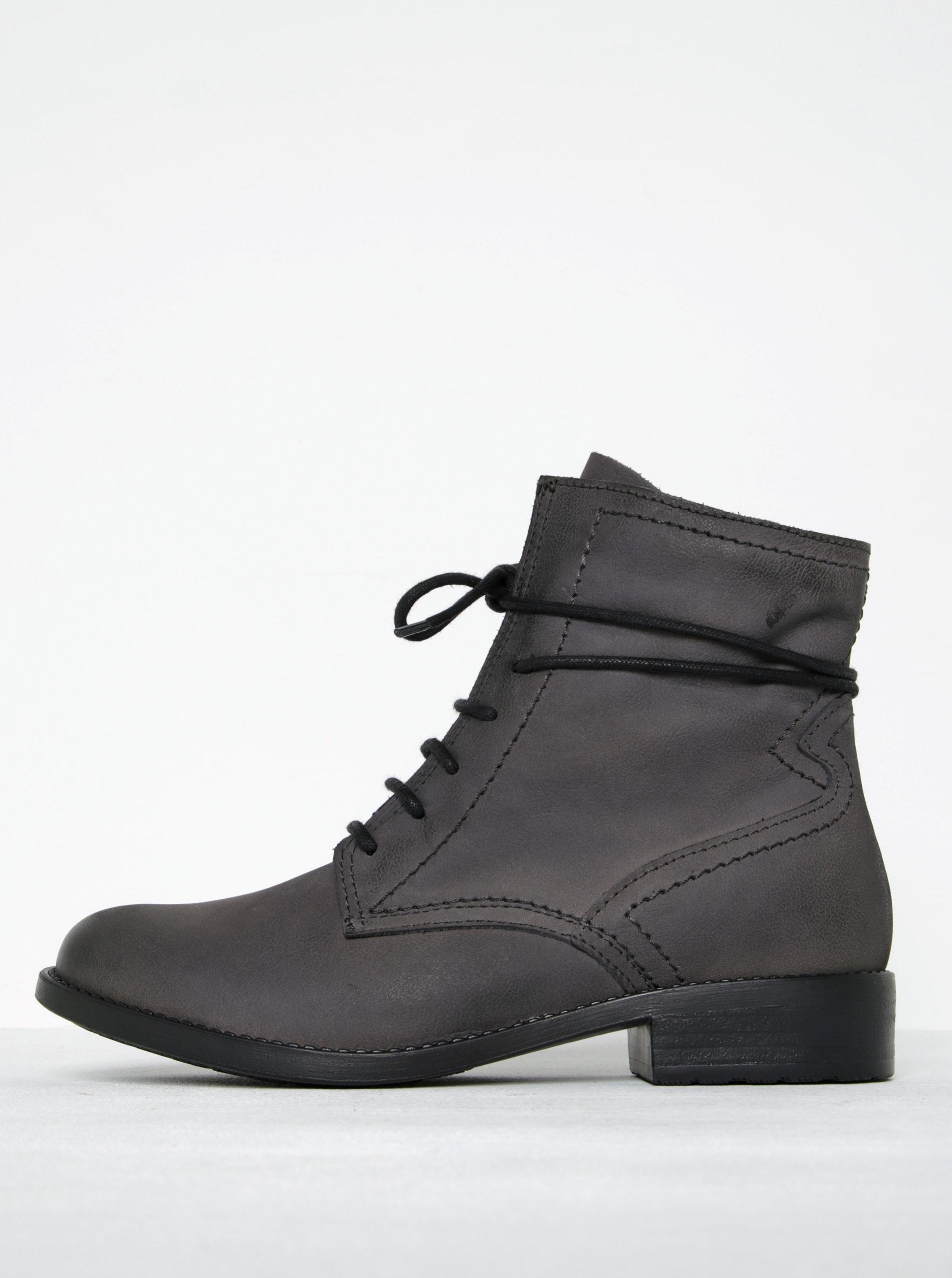 Tmavě šedé kožené kotníkové boty na zip Tamaris ... 50deeb2e8c