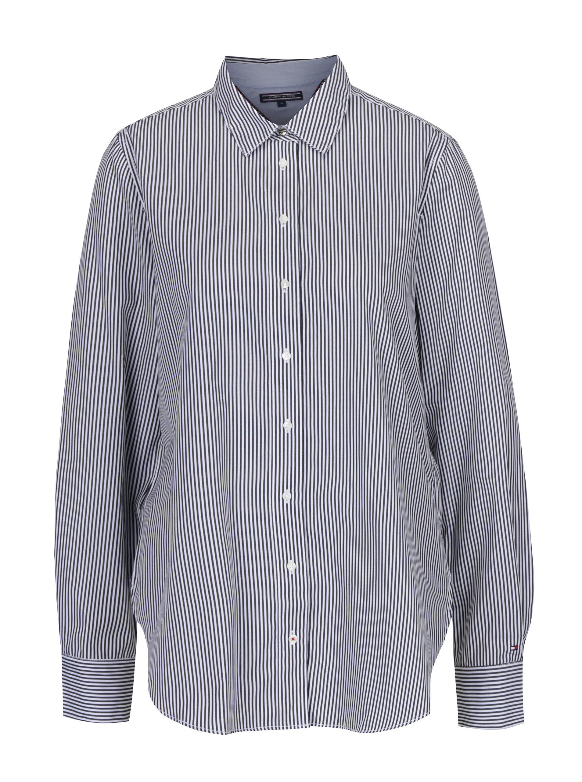 Bielo-čierna dámska pruhovaná košeľa Tommy Hilfiger ... bb6b6fae957