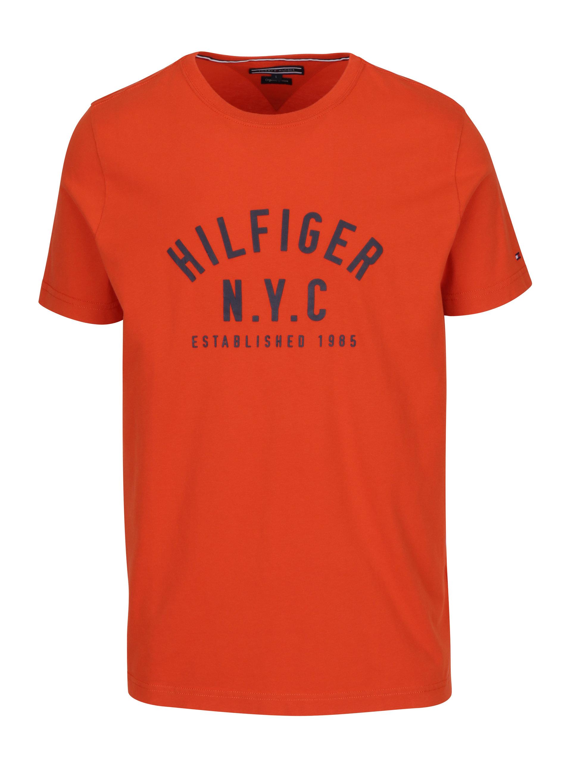 Oranžové pánské tričko s krátkým rukávem Tommy Hilfiger Chase ... 15610b82af6