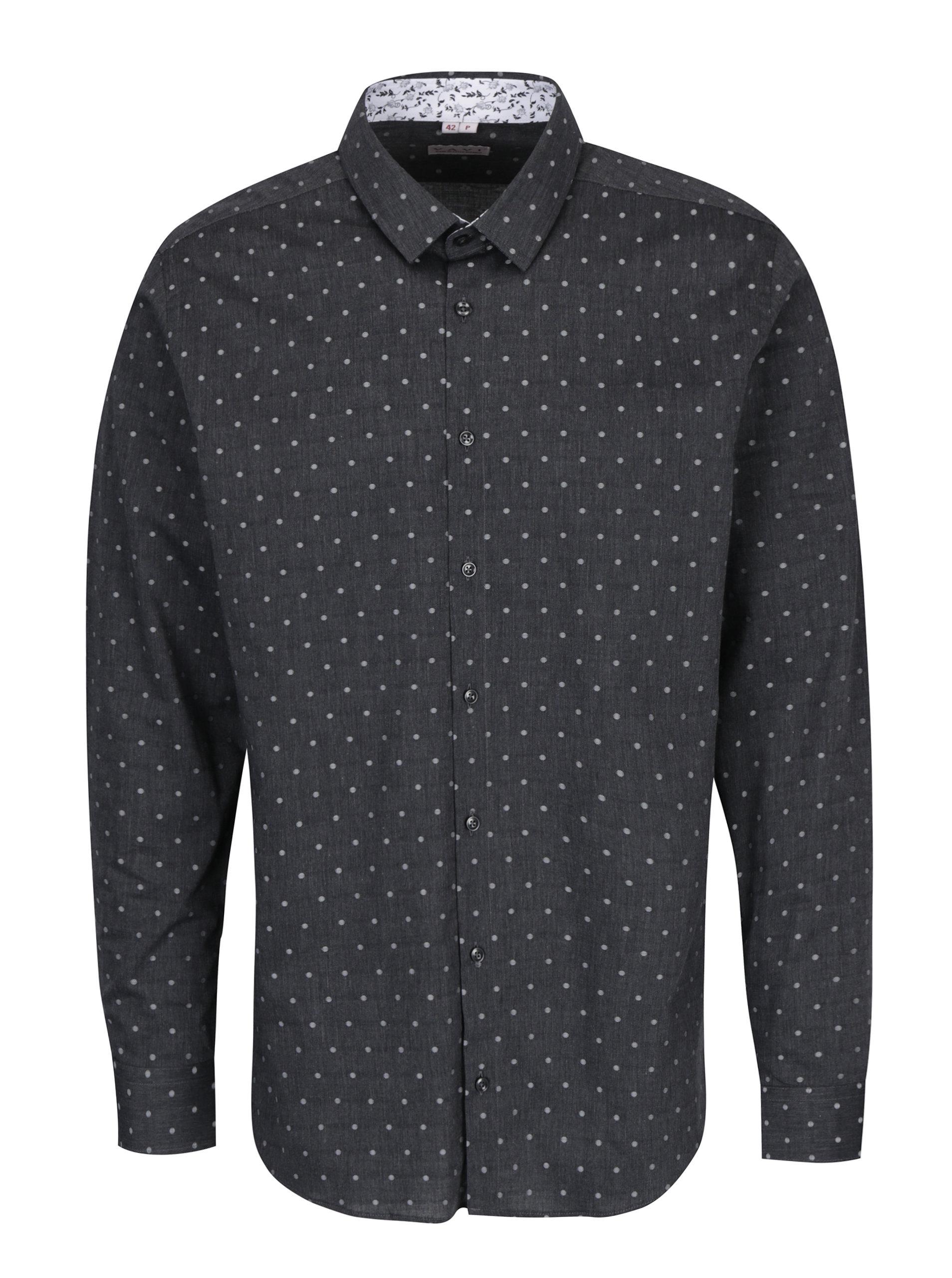 c47af033f392 Sivá pánska bodkovaná košeľa VAVI ...