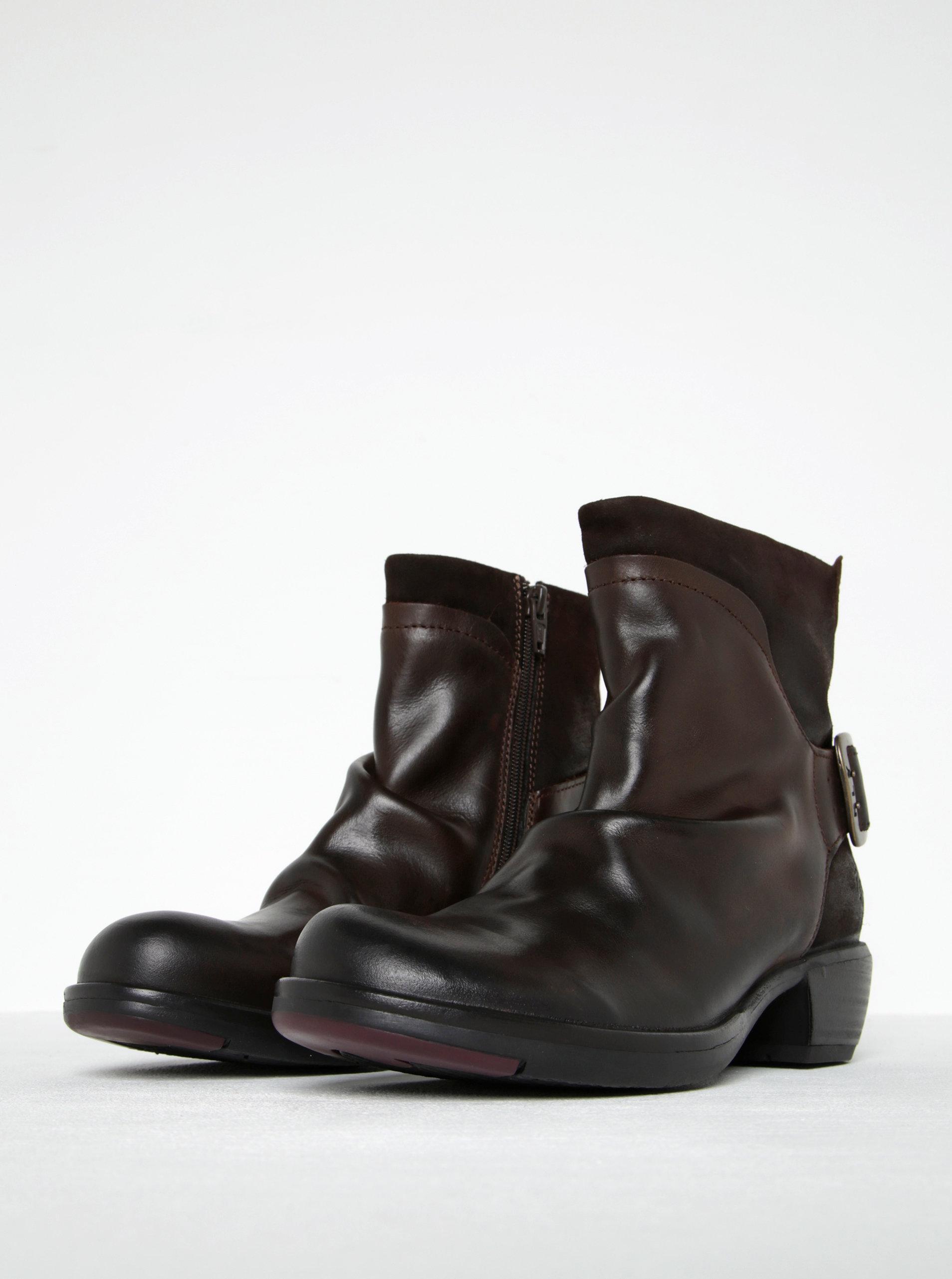 Tmavě hnědé dámské kožené kotníkové boty s přezkou FLY London ... aa1d573902