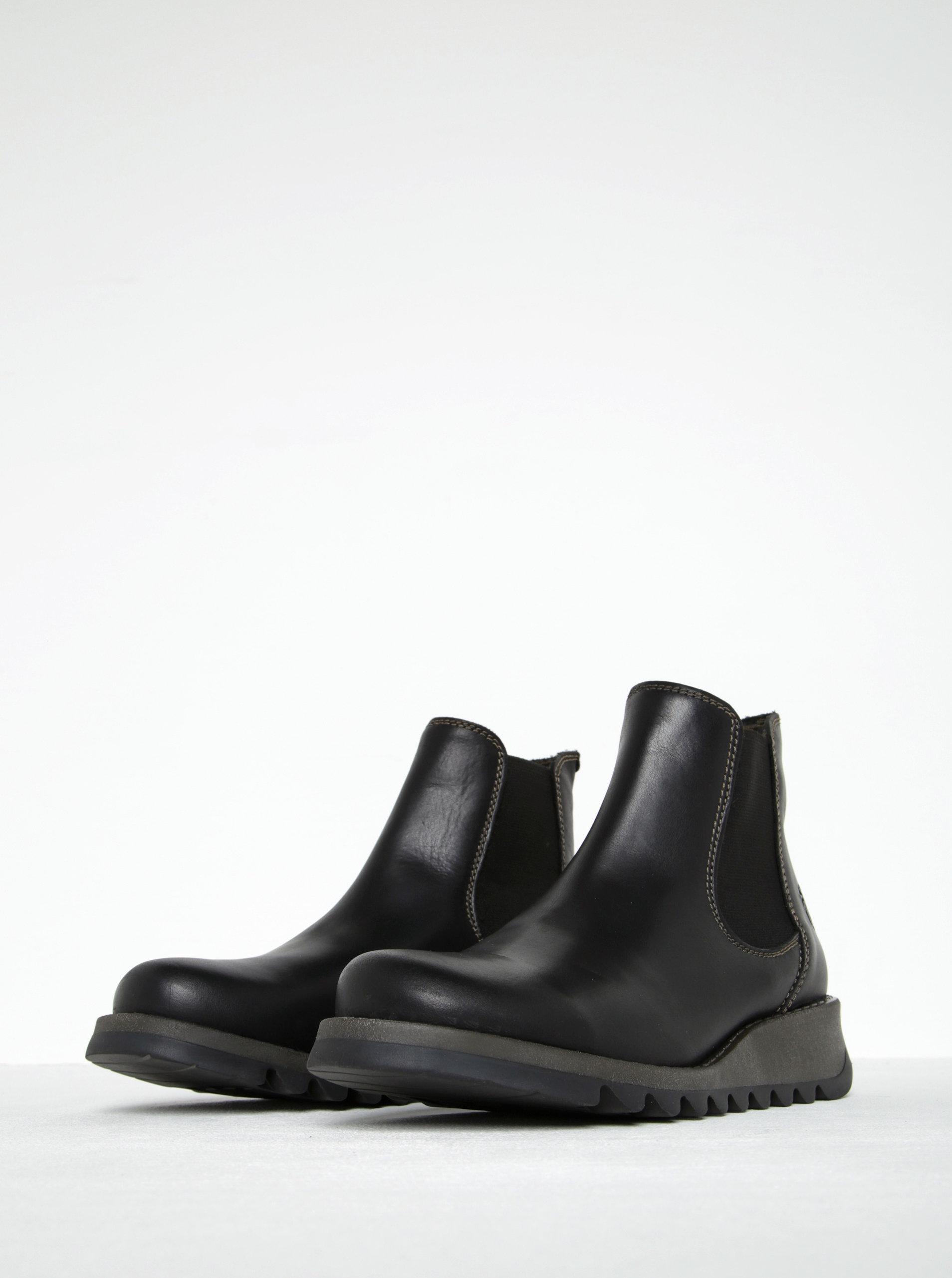 Černé dámské kožené chelsea boty FLY London ... b037229047