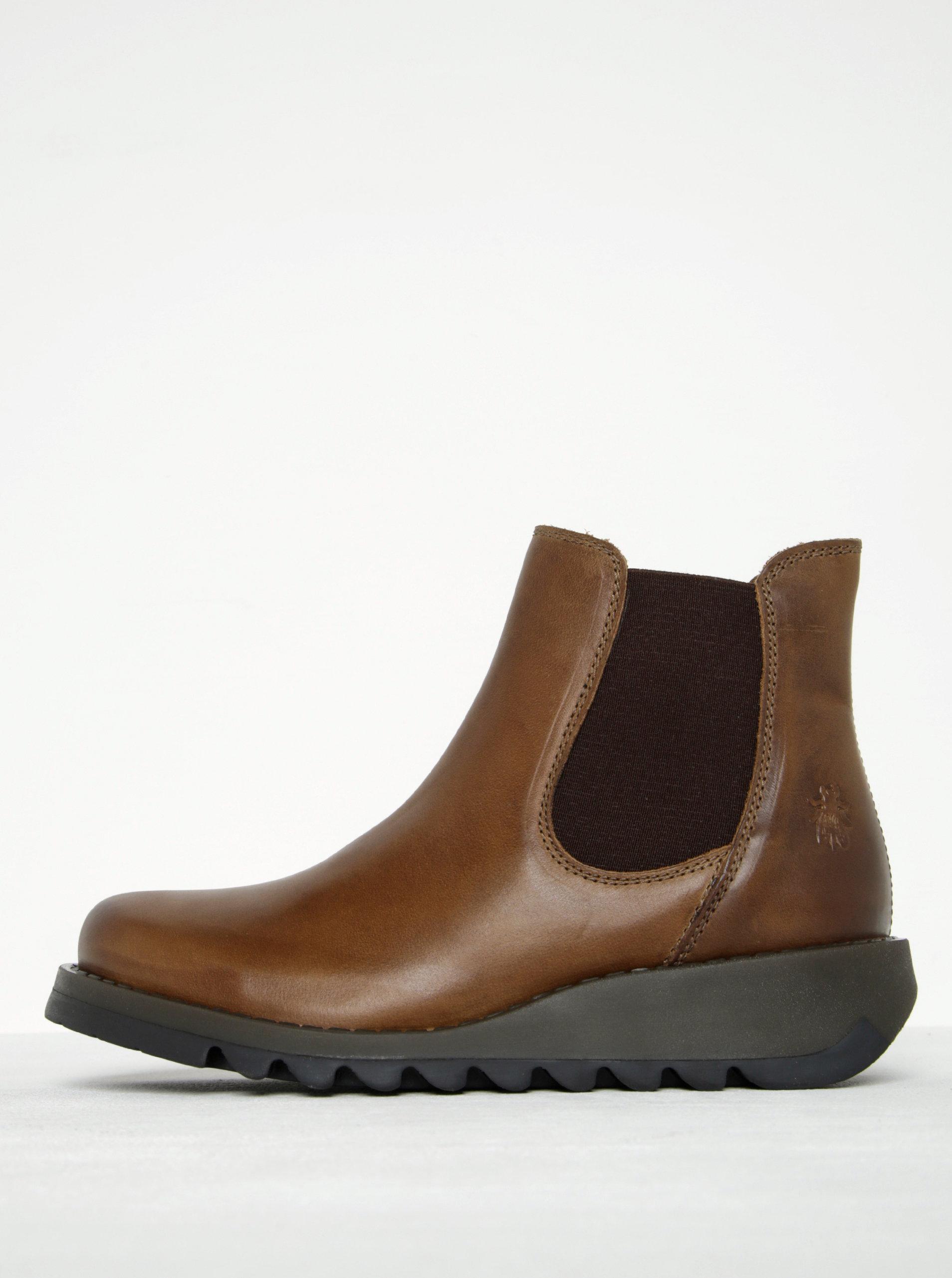 Hnědé dámské kožené chelsea boty FLY London - Akční cena  8677806158