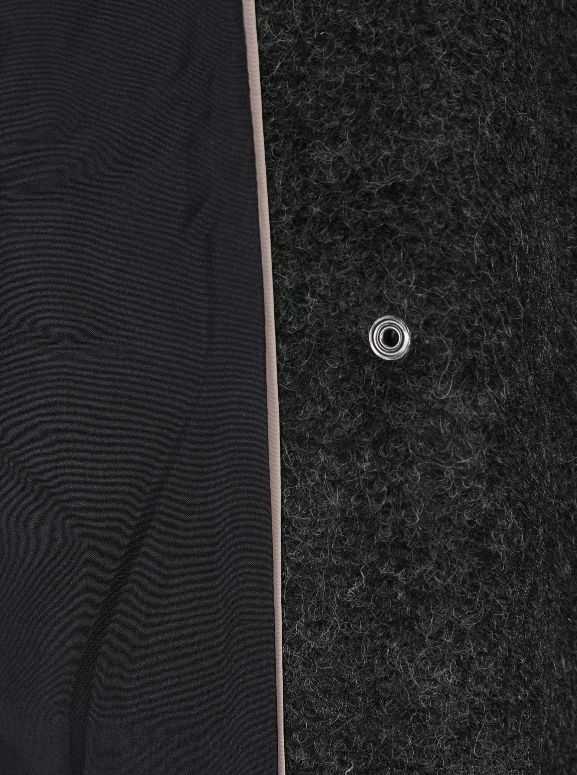 Tmavosivý žíhaný kabát s prímesou vlny VERO MODA Emra ... bf746f8f715
