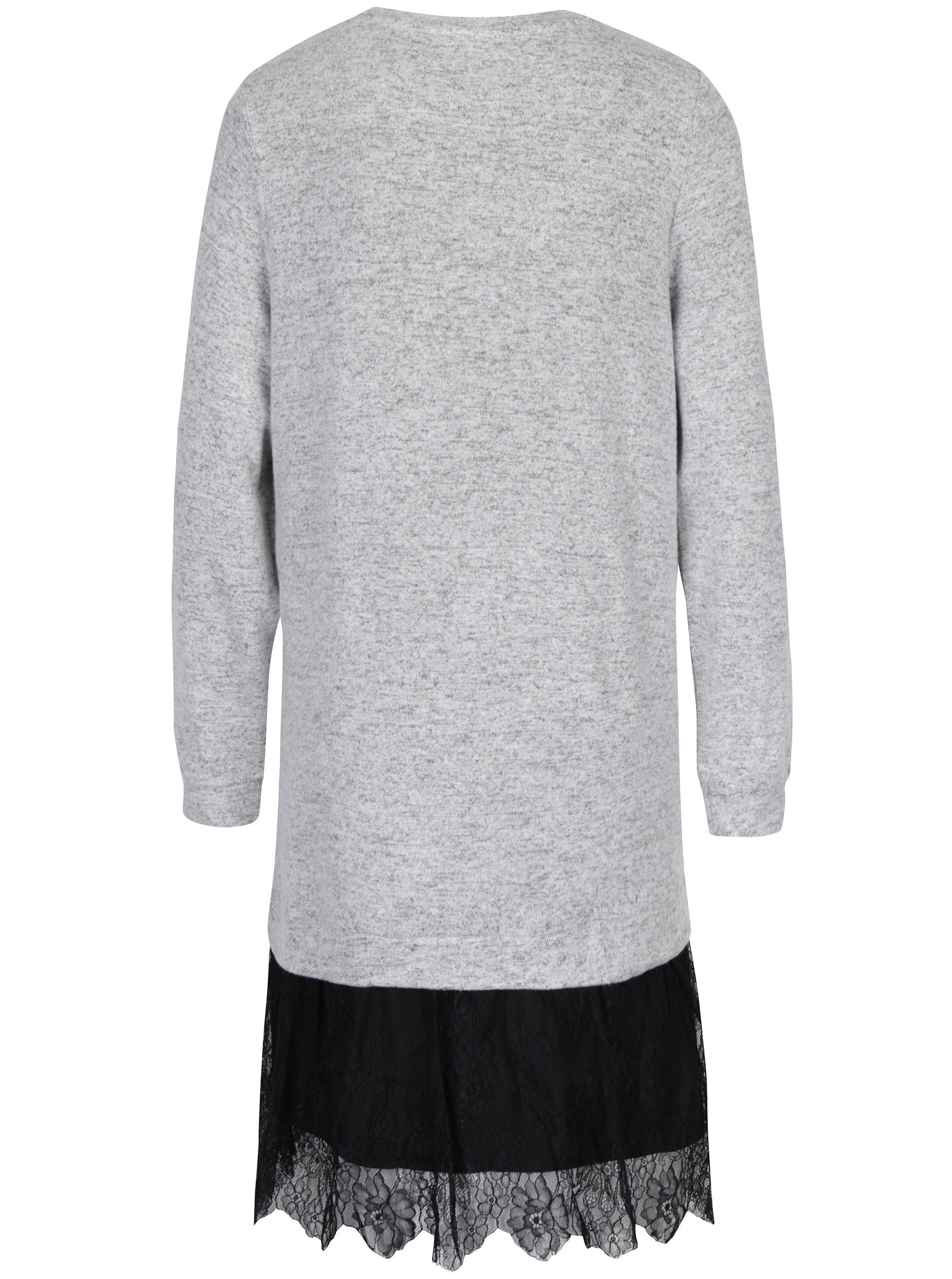 Světle šedé žíhané svetrové šaty s krajkou VERO MODA Gigi ... 48216de6133