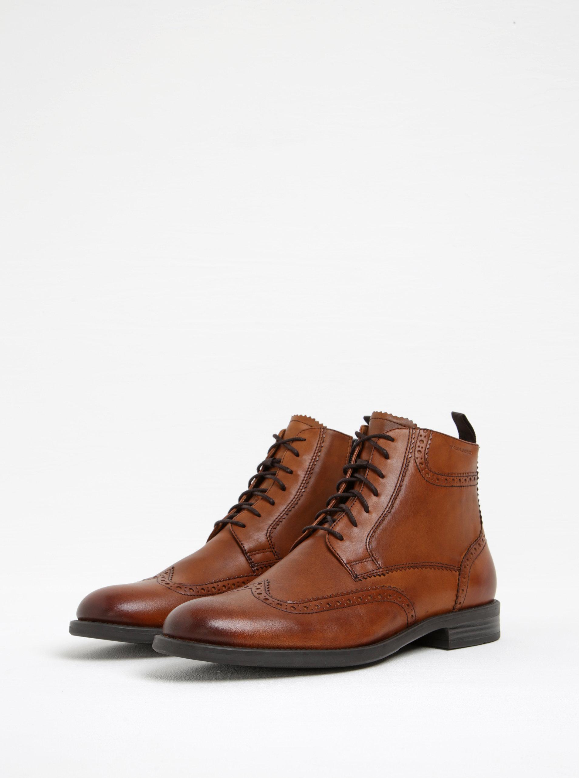 dcf02ae9179e0 Hnědé pánské kožené kotníkové boty s brogue detaily Vagabond Salvatore ...