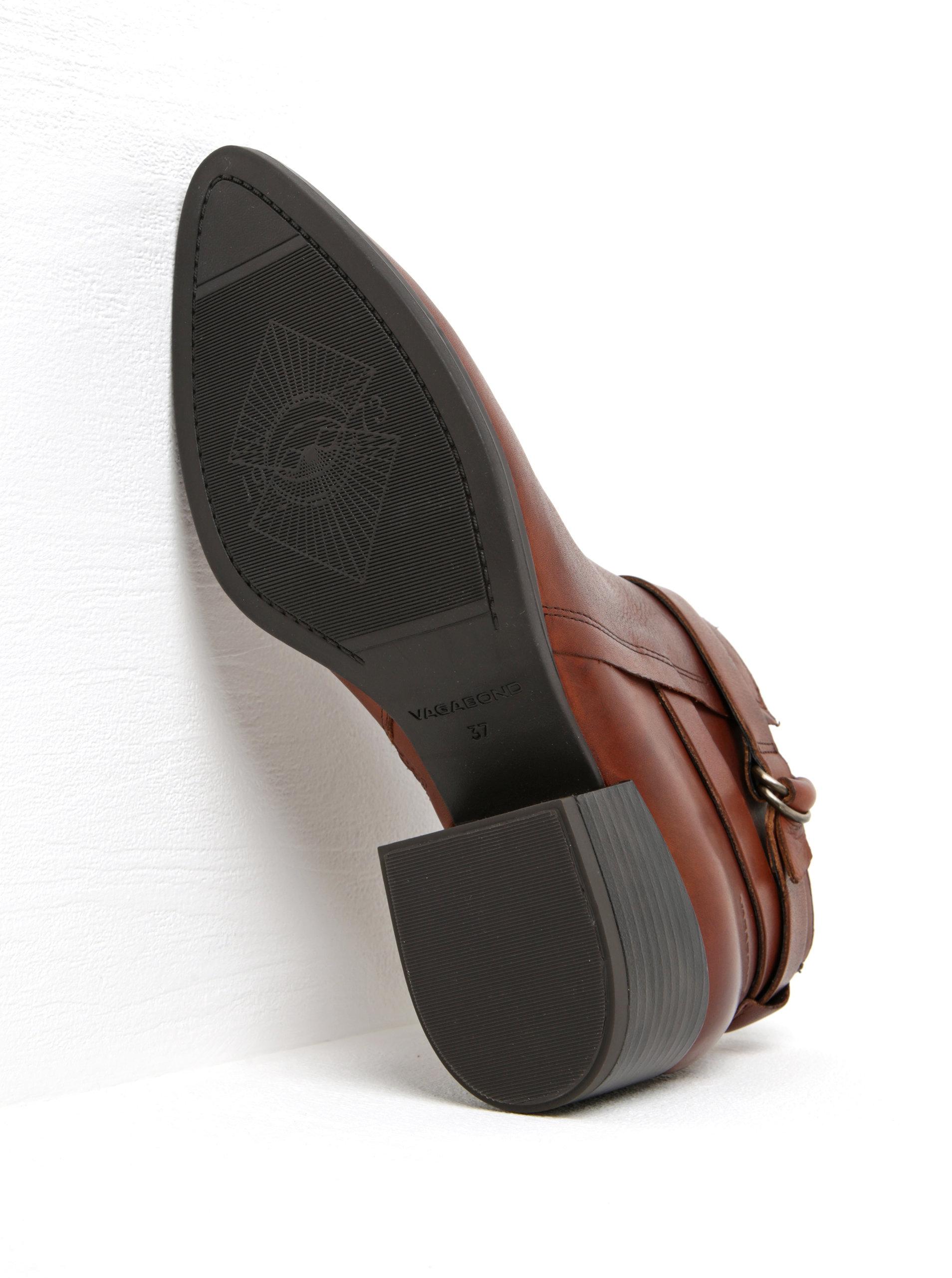 4a1c1b203fd34 Hnedé dámske kožené členkové topánky na širokom podpätku Vagabond Marja ...