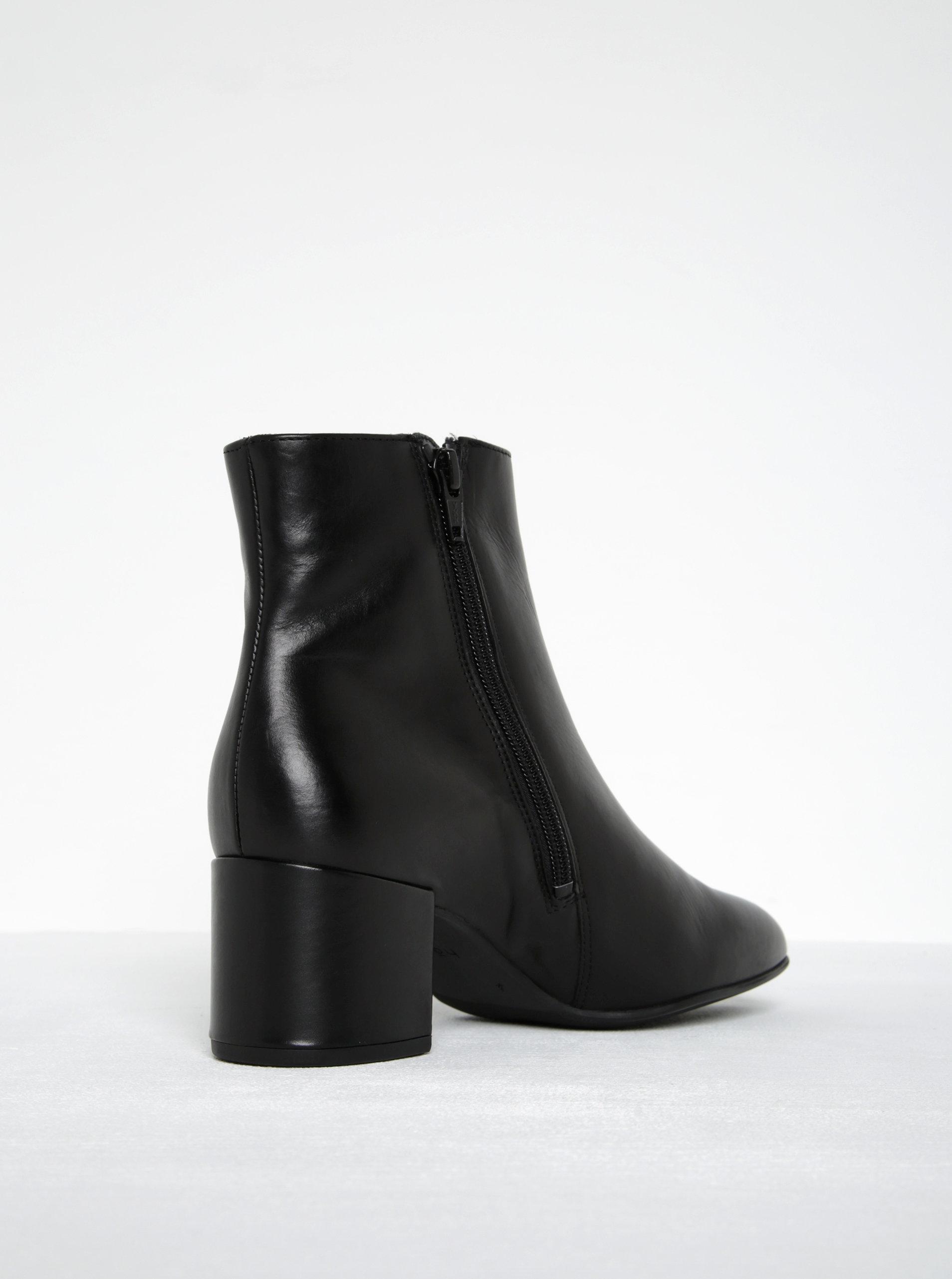 Čierne kožené členkové topánky na podpätku Högl ... ea35744ed26