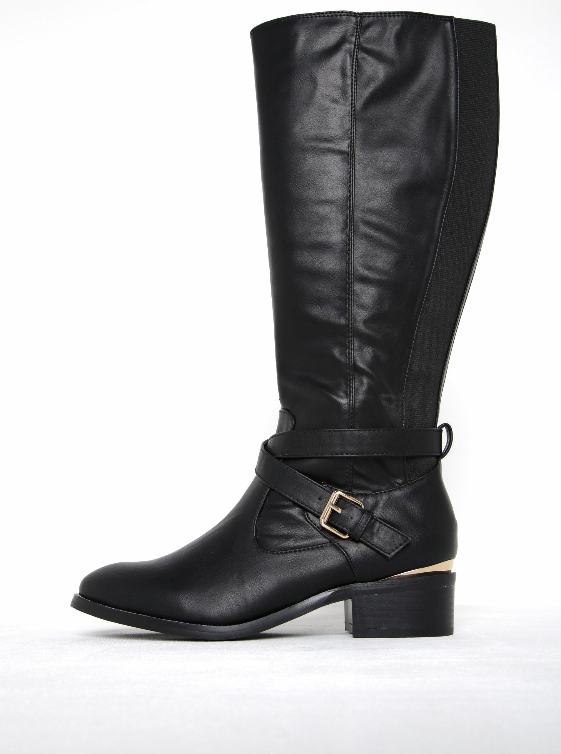 Čierne wide fit vysoké čižmy s prackou Dorothy Perkins ... 4596d972cb2