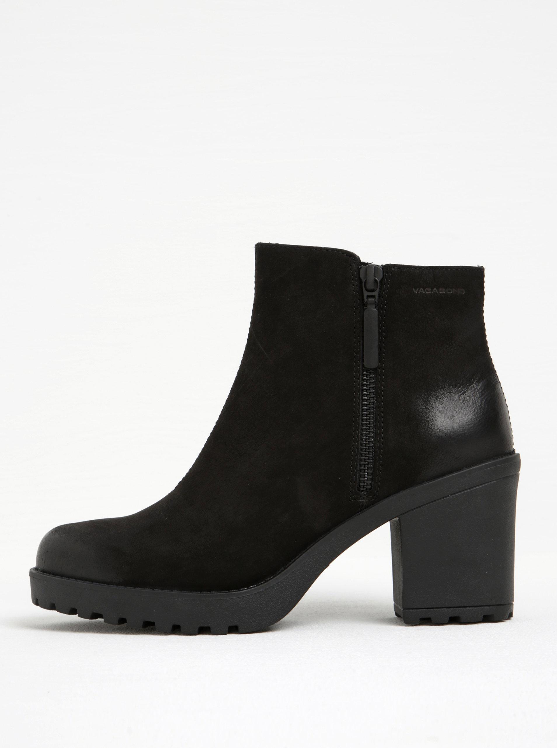 Černé dámské kožené kotníkové boty na širokém podpatku Vagabond Grace ... 8a0911174a