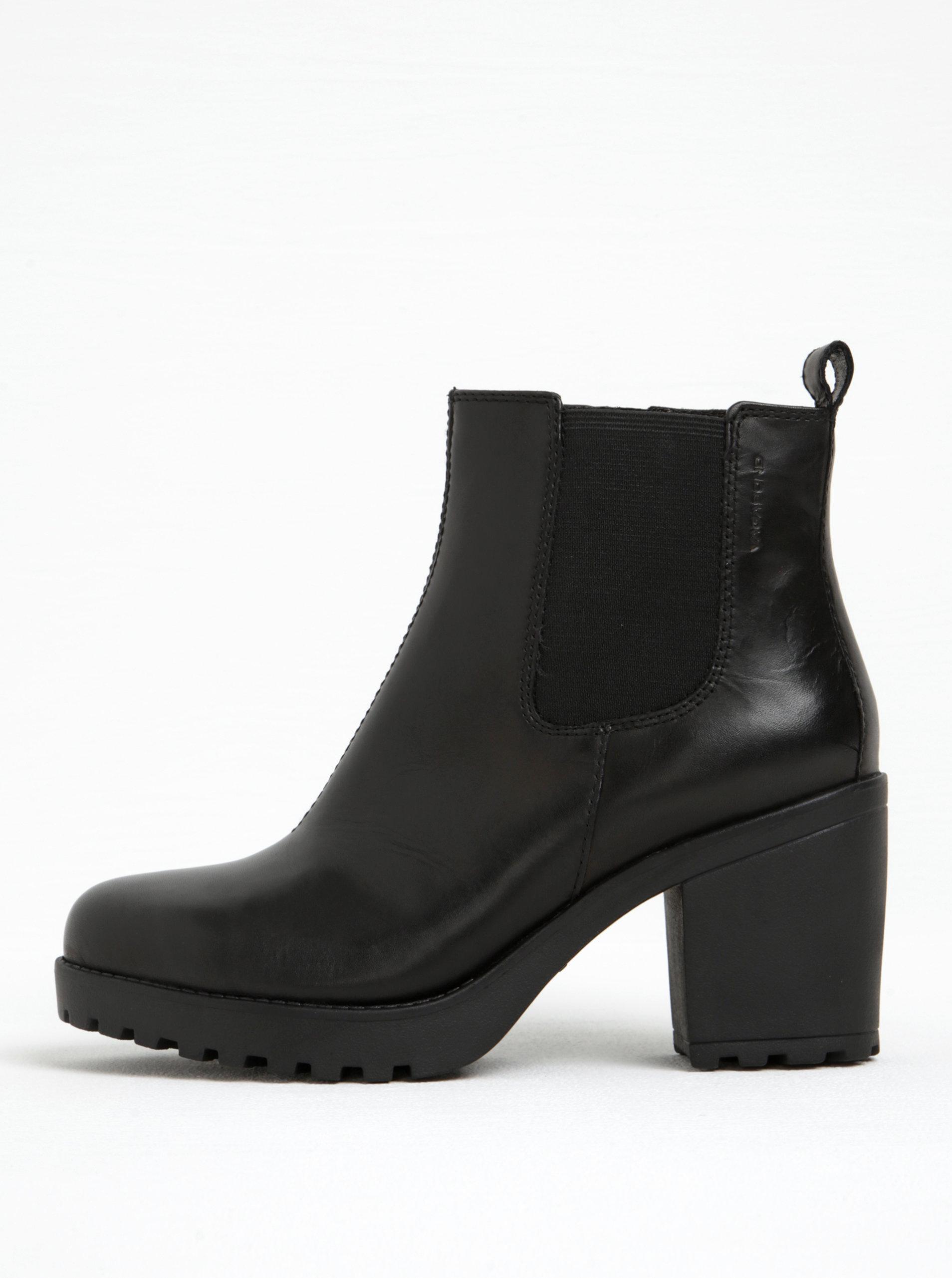 a0263e5ff2a Černé dámské kožené kotníkové boty na podpatku Vagabond Marja ...