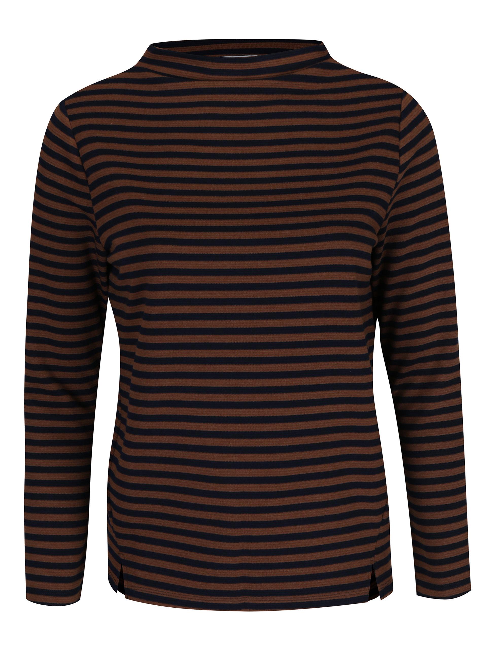 e378de1301e5 Modro-hnedé pruhované tričko s dlhým rukávom Gina Laura ...