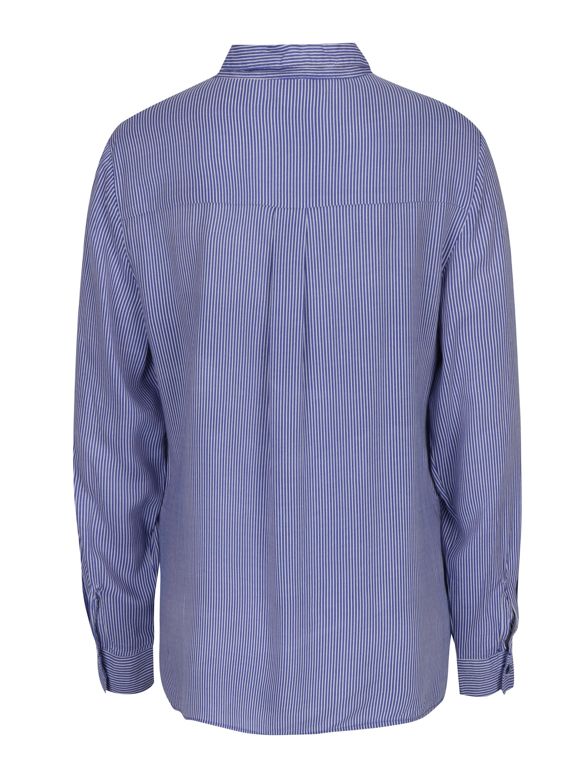 3254bd7cd4d Bílo-modrá dámská pruhovaná košile s výšivkou květin M Co ...
