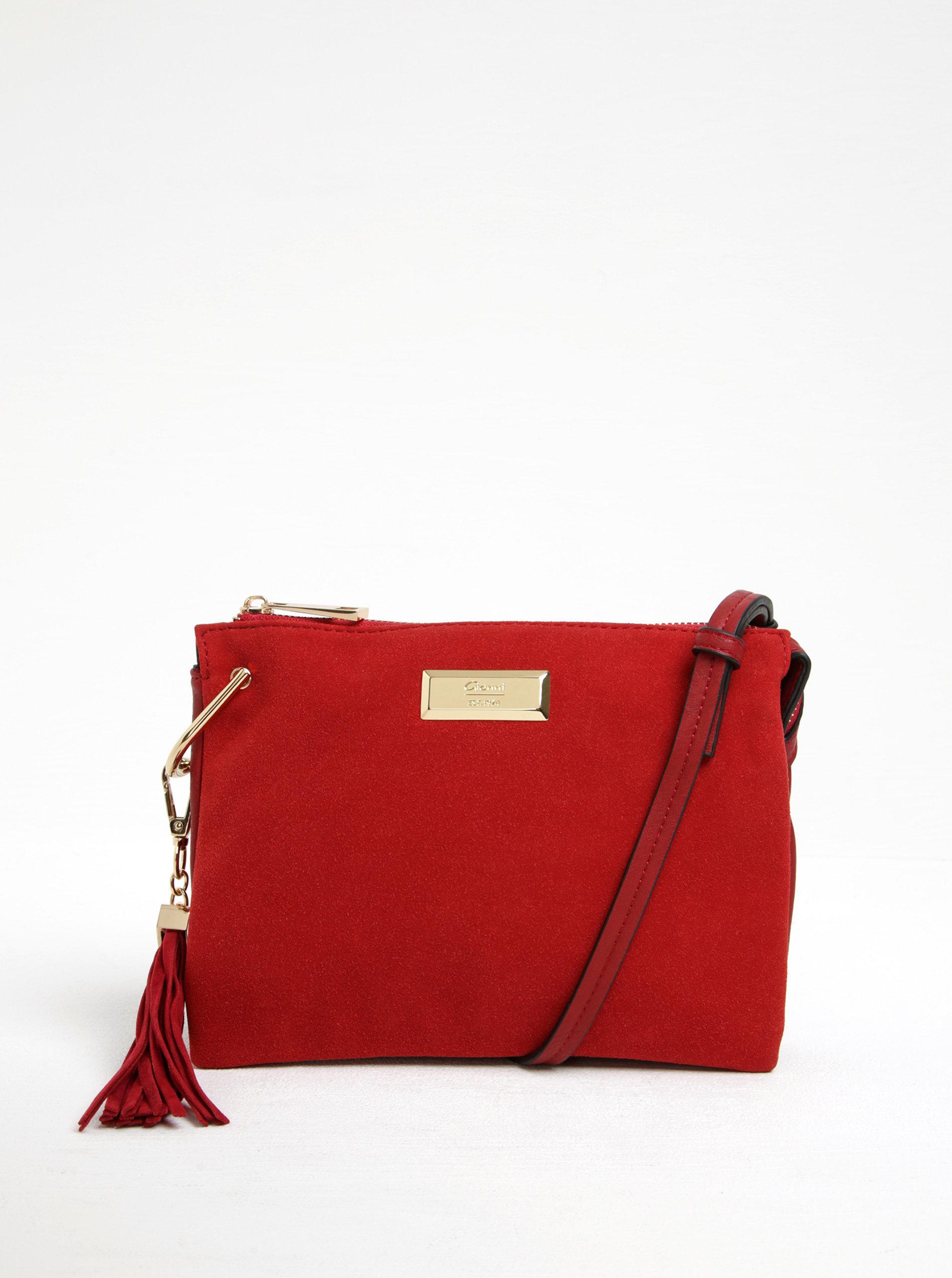 Červená crossbody kabelka v semišovej úprave Gionni Viollette ... 35a8309be68